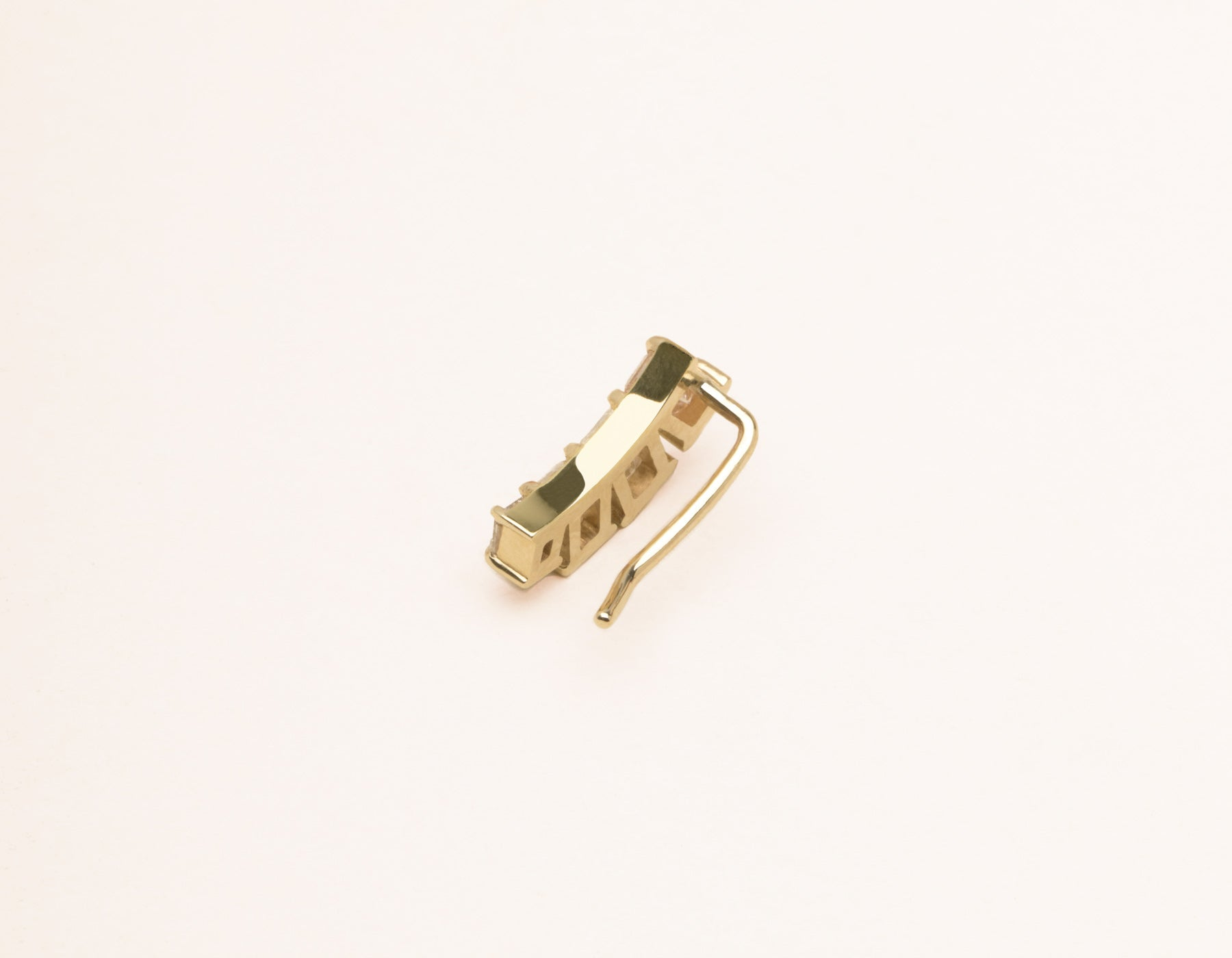 Elegant minimalist 14k solid gold gradient diamond Emerald Arc Earring cuff by Vrai and Oro, 14K Yellow Gold
