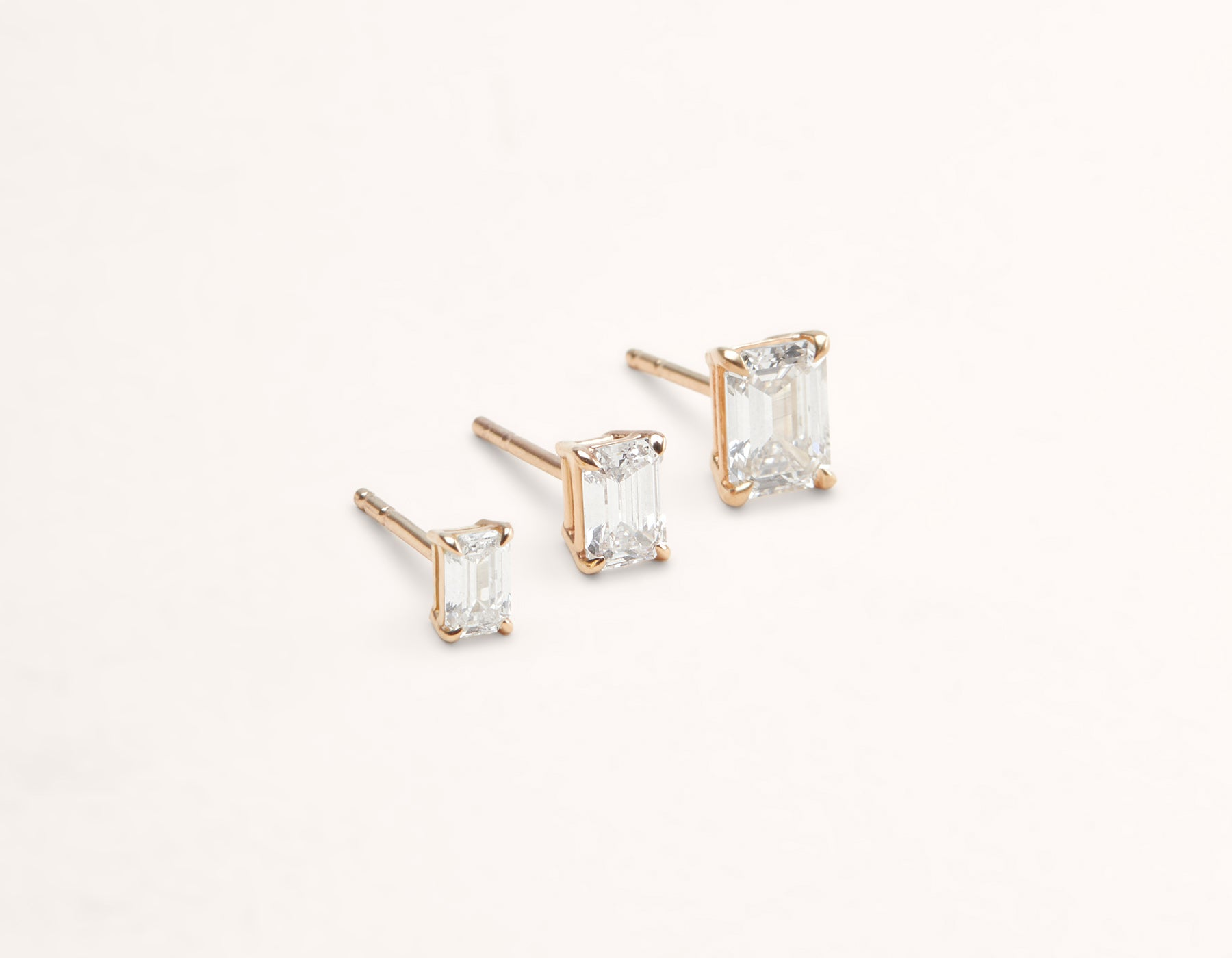 Vrai & Oro 18K Solid Gold Emerald Diamond Earring Post 1 ct .50 ct .25 ct, 18K Rose Gold