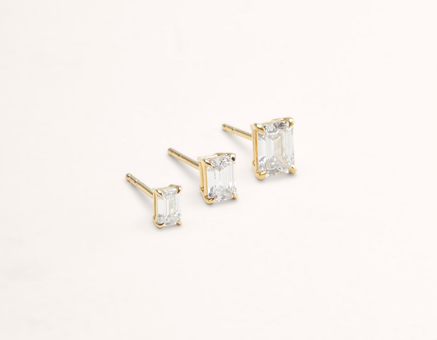 Vrai & Oro 18K Solid Gold Emerald Diamond Earring Post 1 ct .50 ct .25 ct, 18K Yellow Gold