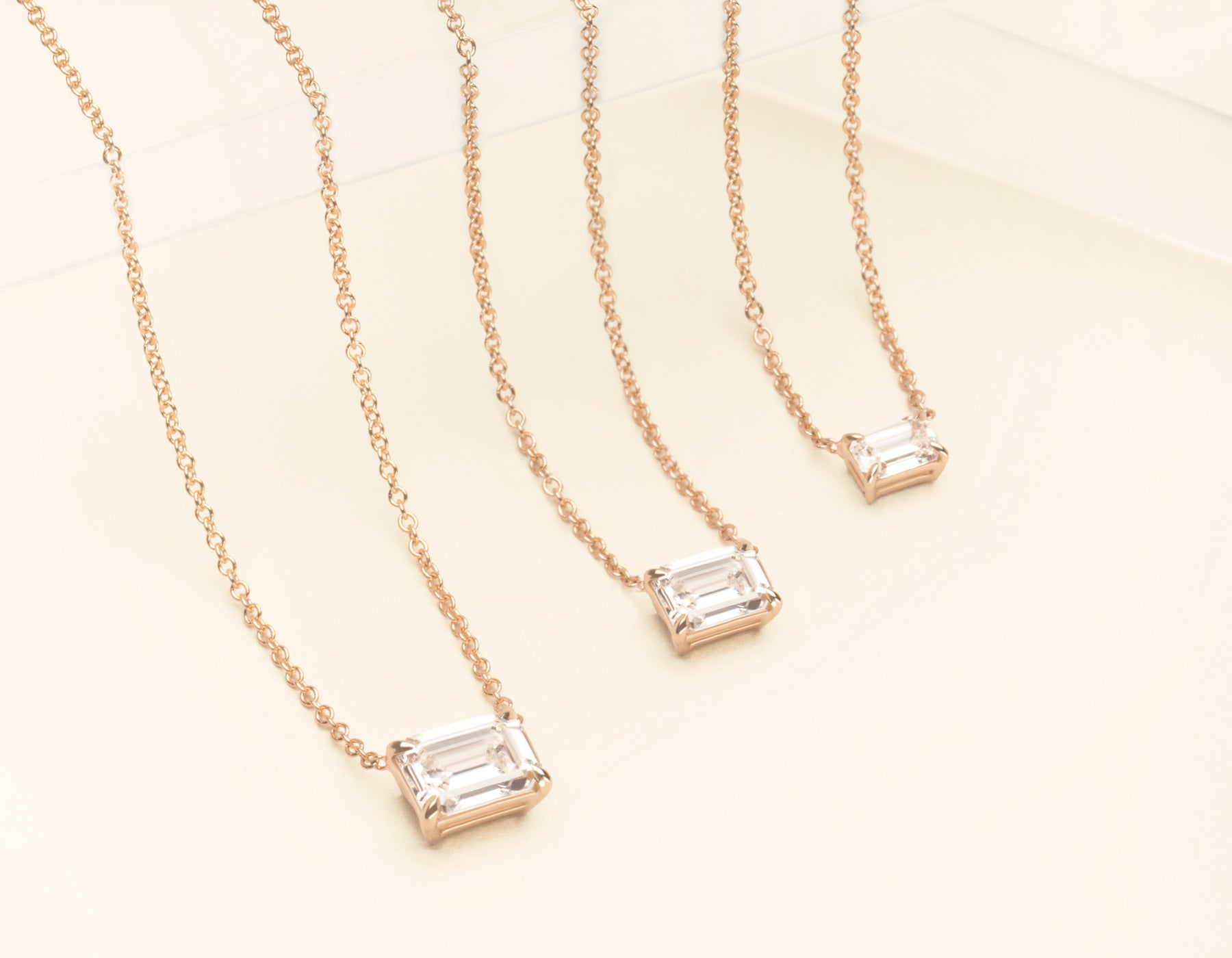 18K Solid Rose Gold Emerald Diamond Necklace on thing chain with .25 carat Half Carat or 1 Carat Diamond, 18K Rose Gold