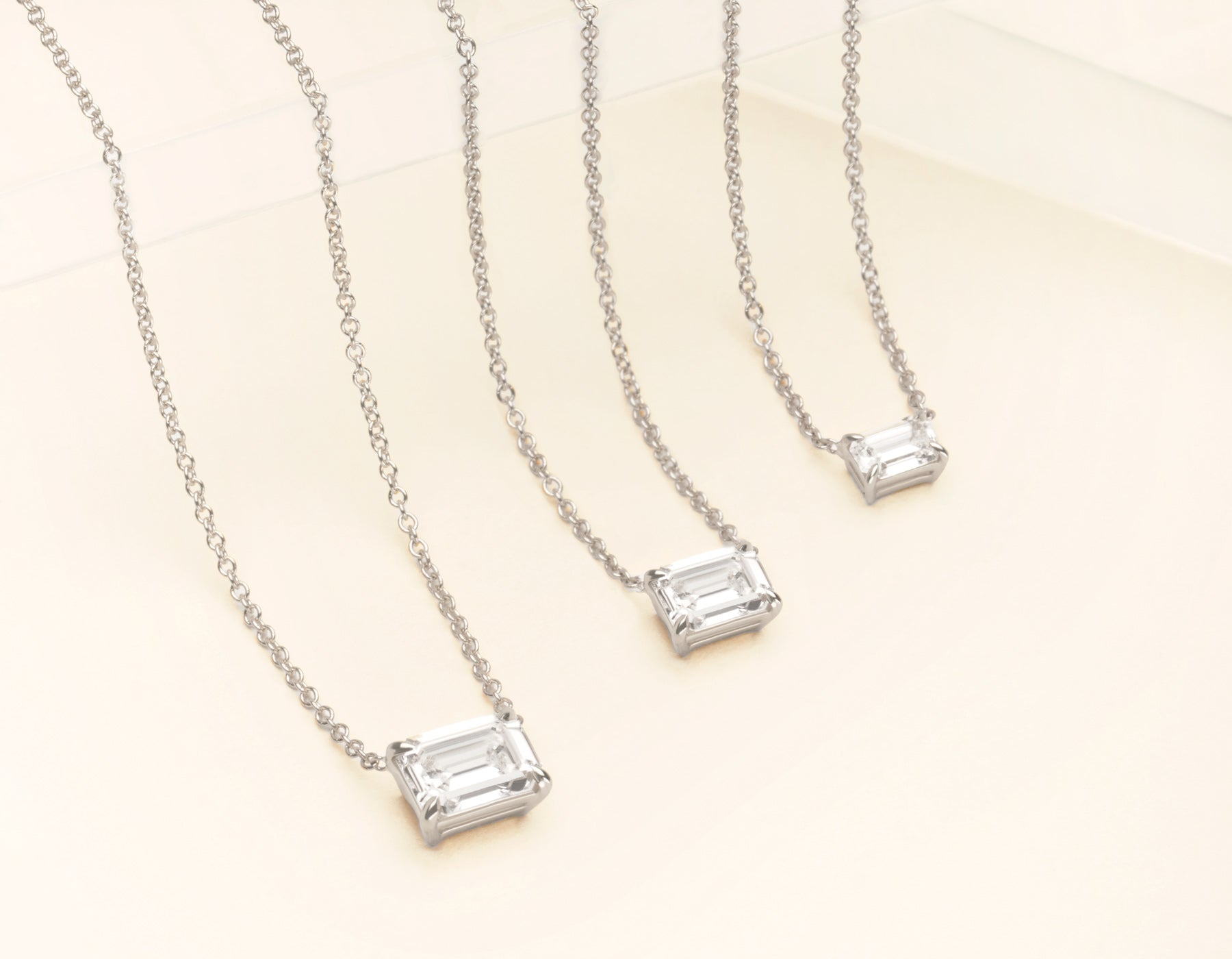 18K Solid White Gold Emerald Diamond Necklace on thing chain with .25 carat Half Carat or 1 Carat Diamond, 18K White Gold