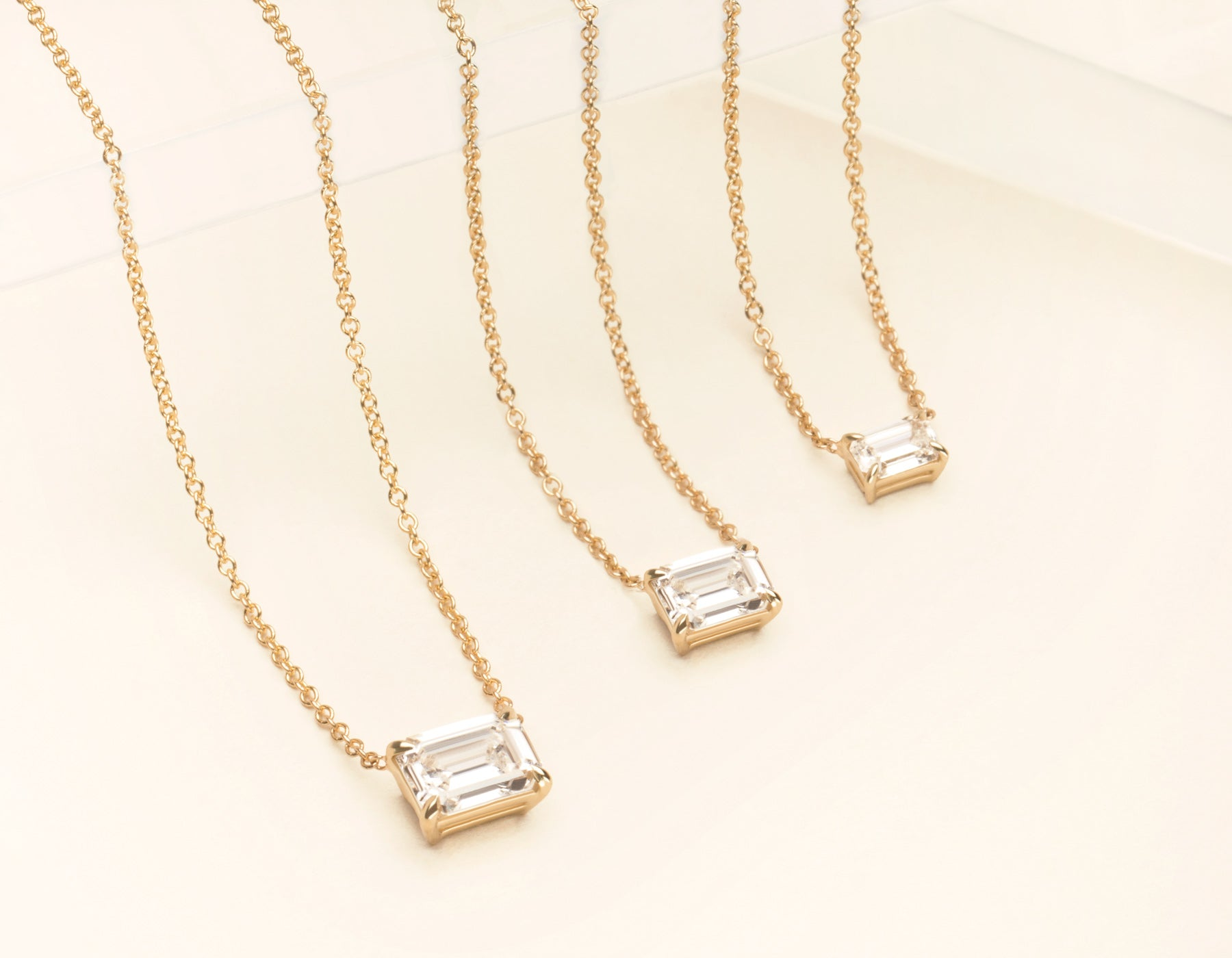 18K Solid White Gold Emerald Diamond Necklace on thing chain with .25 carat Half Carat or 1 Carat Diamond, 18K Yellow Gold