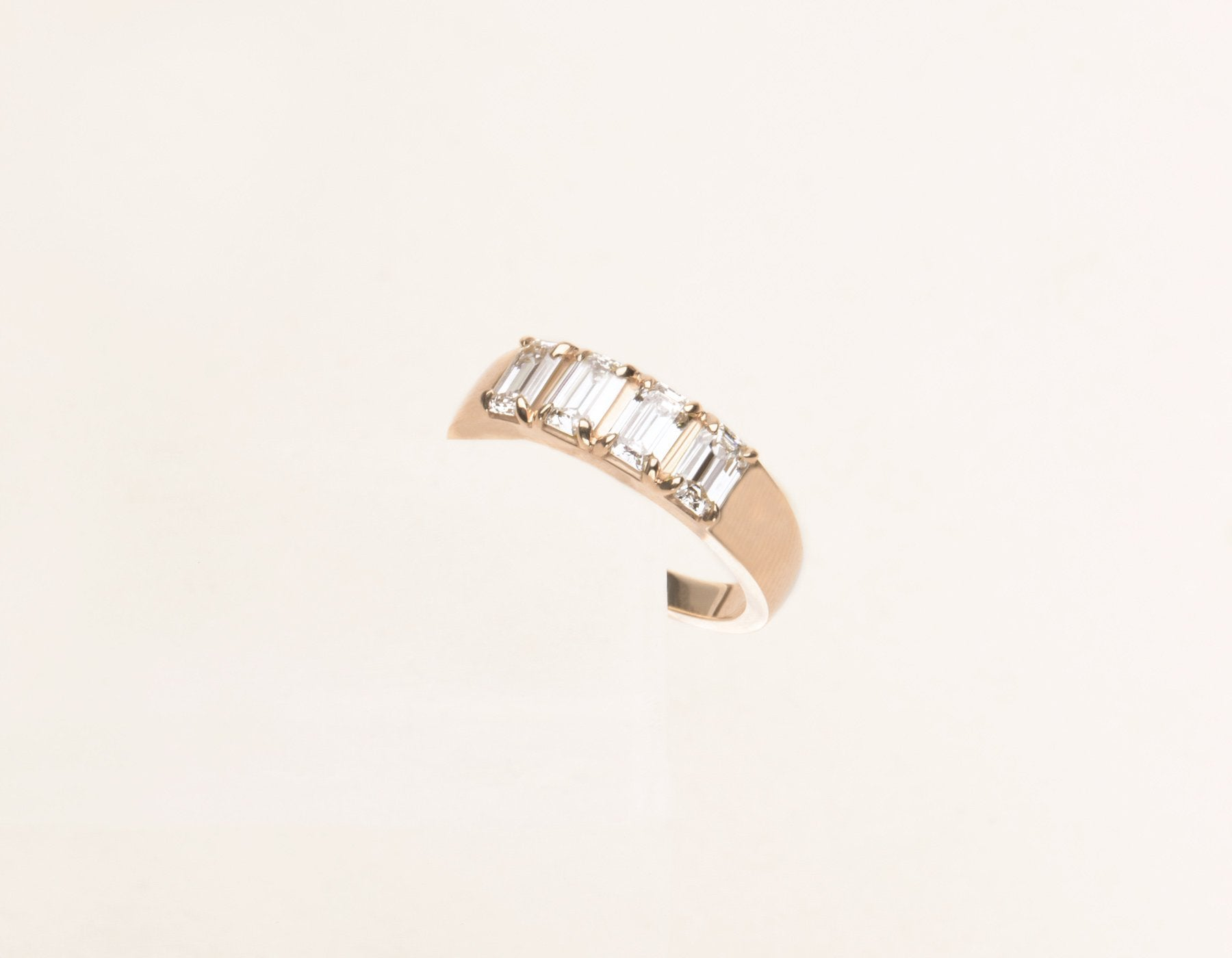 Classic minimalist 14k solid gold Emerald cut Diamond Tetrad Band by Vrai & Oro sustainable jewelry, 14K Rose Gold