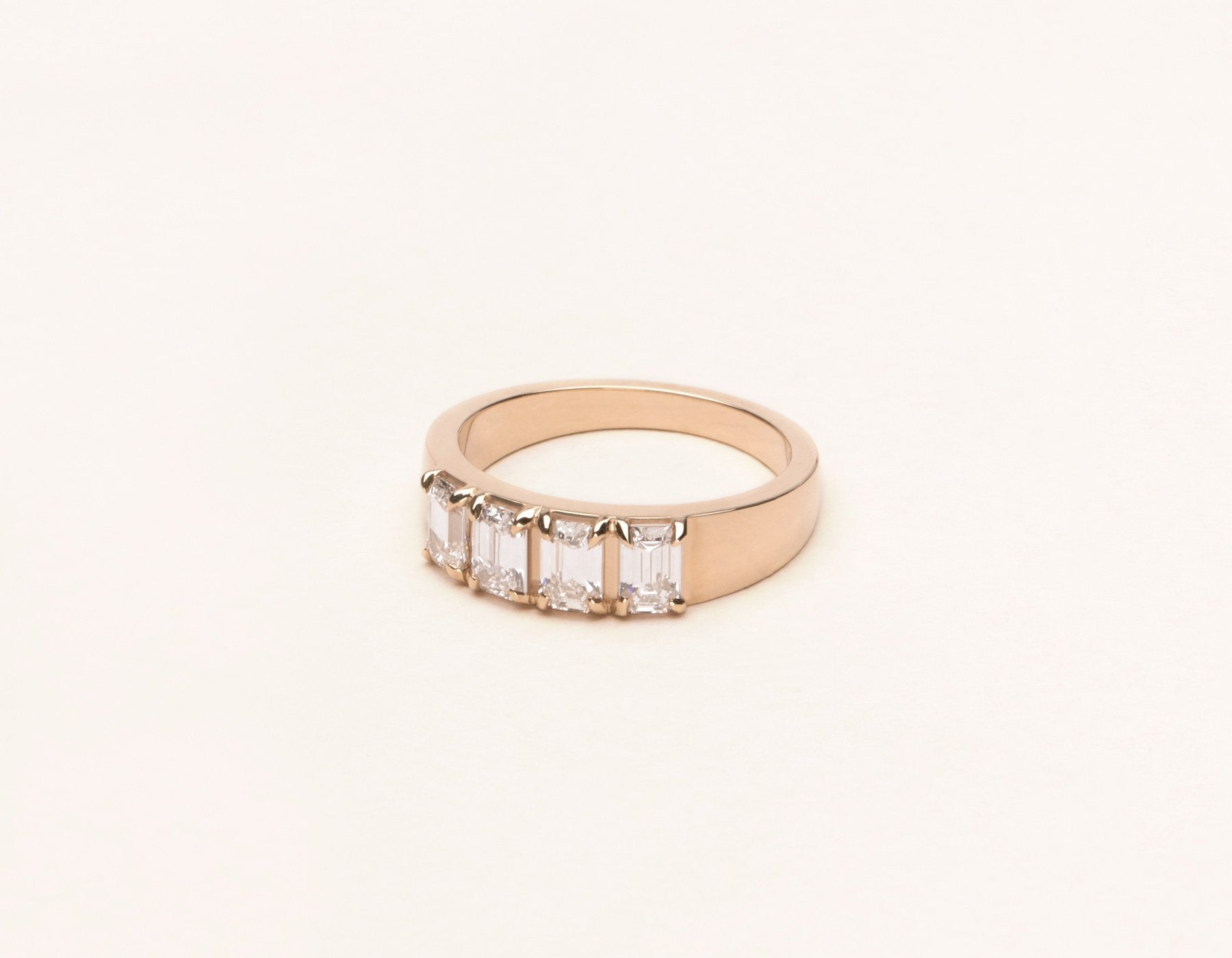 Simple elegant 14k solid gold Emerald Tetrad Band diamond ring by Vrai and Oro minimalist jewelry, 14K Rose Gold