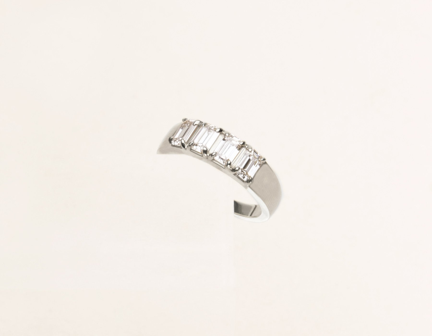 Classic minimalist 14k solid gold Emerald cut Diamond Tetrad Band by Vrai & Oro sustainable jewelry, 14K White Gold