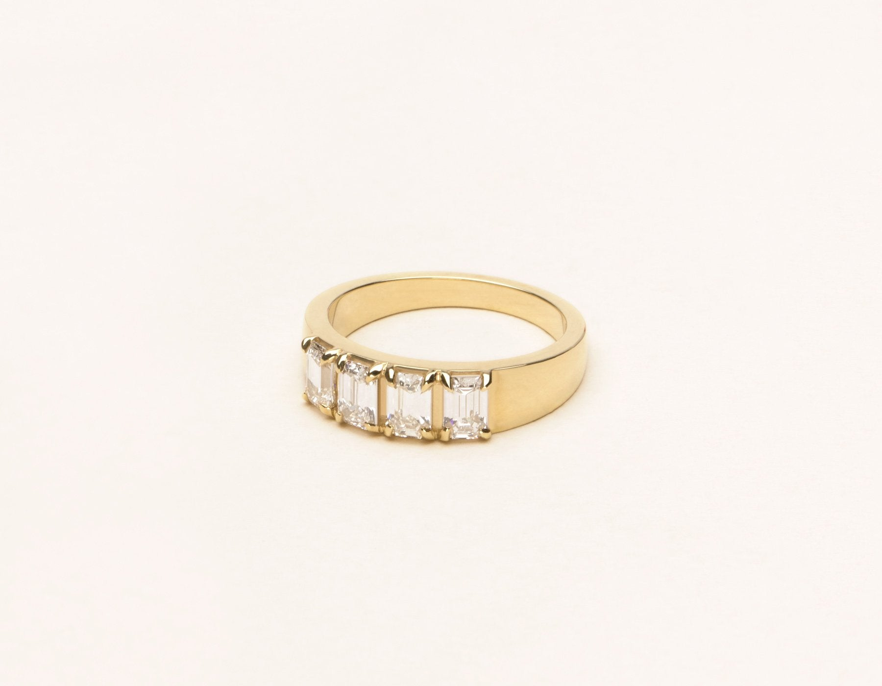 Simple elegant 14k solid gold Emerald Tetrad Band diamond ring by Vrai and Oro minimalist jewelry, 14K Yellow Gold