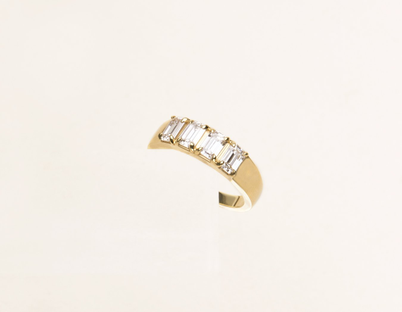 Classic minimalist 14k solid gold Emerald cut Diamond Tetrad Band by Vrai & Oro sustainable jewelry, 14K Yellow Gold