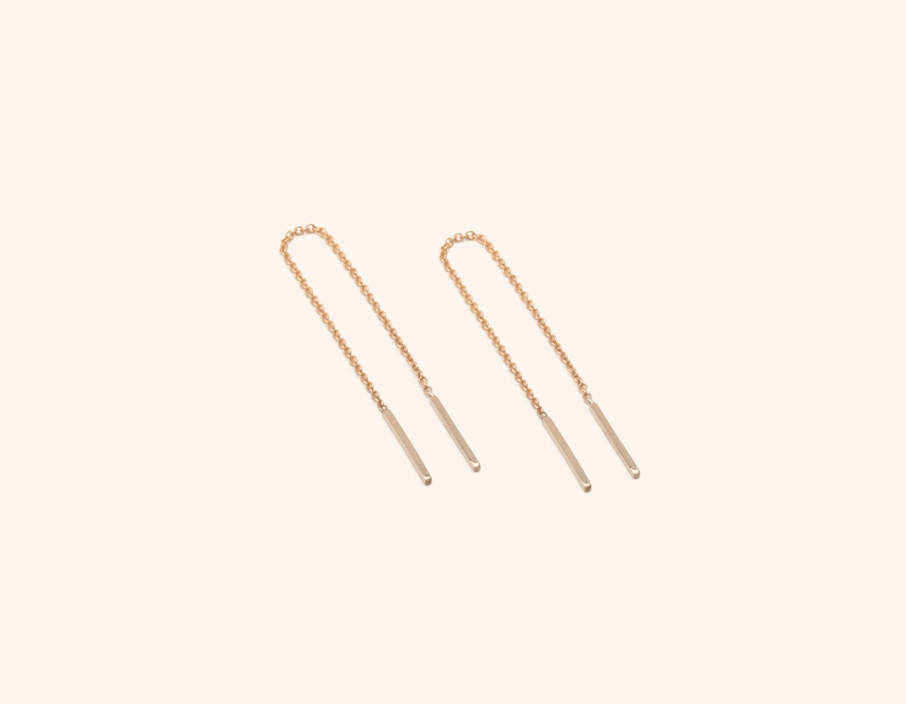 Vrai & Oro dainty minimalist 14K Solid Gold Line Threader Chain Earrings, 14K Rose Gold