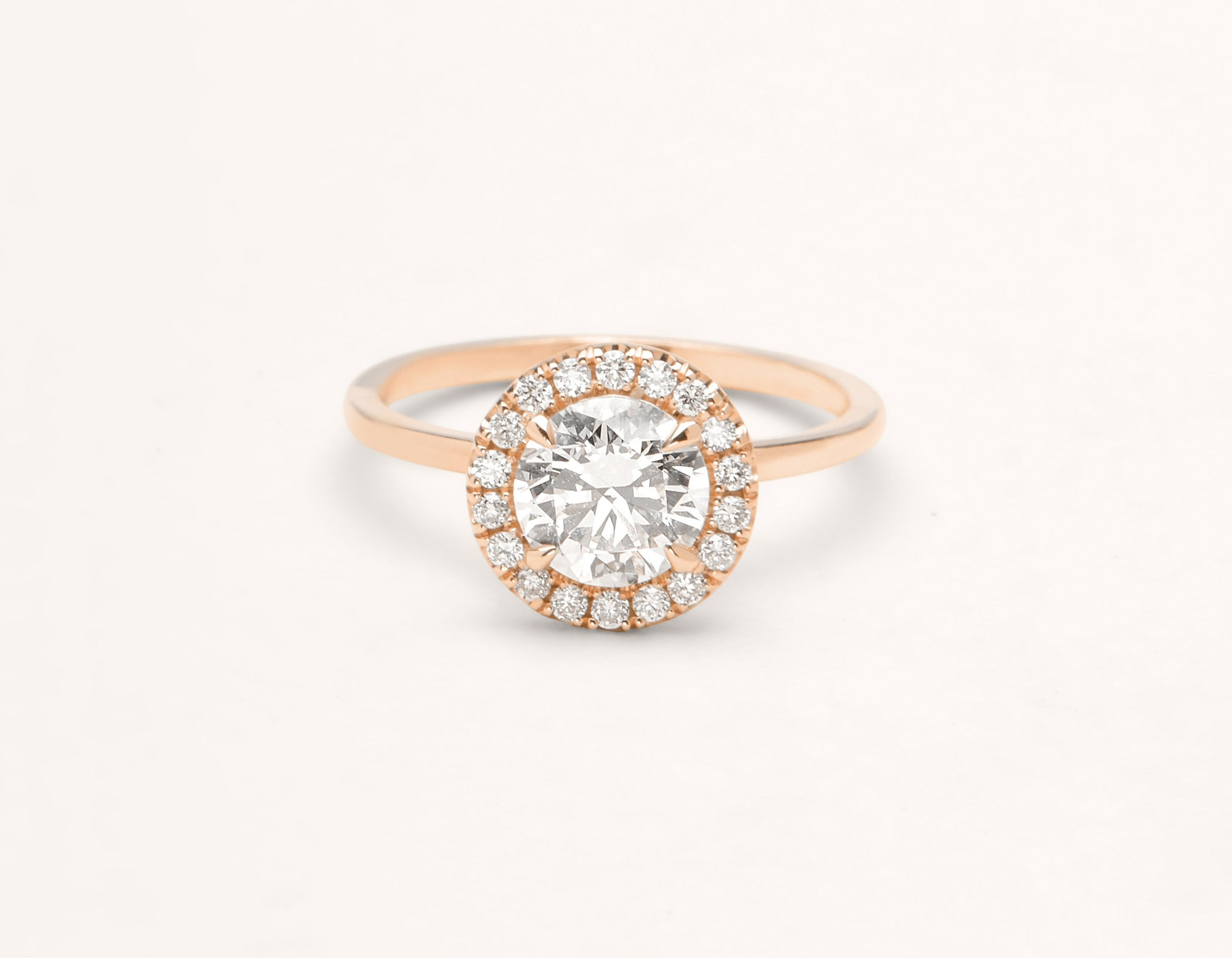 Vrai & Oro 18k solid rose gold Diamond engagement ring The Halo simple classic band
