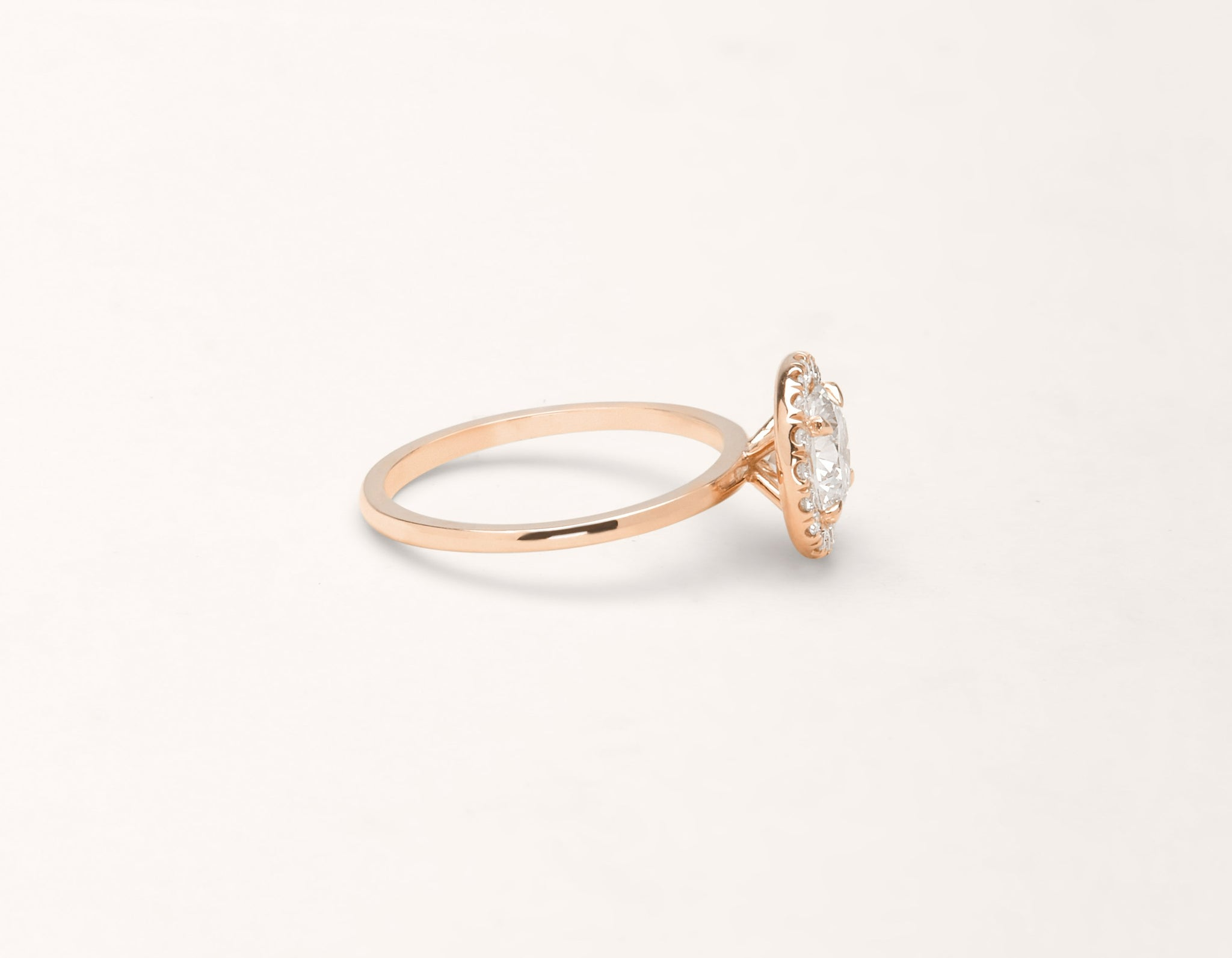 Vrai and Oro modern classic The Halo diamond engagement ring 18k solid rose gold sustainable jewelry