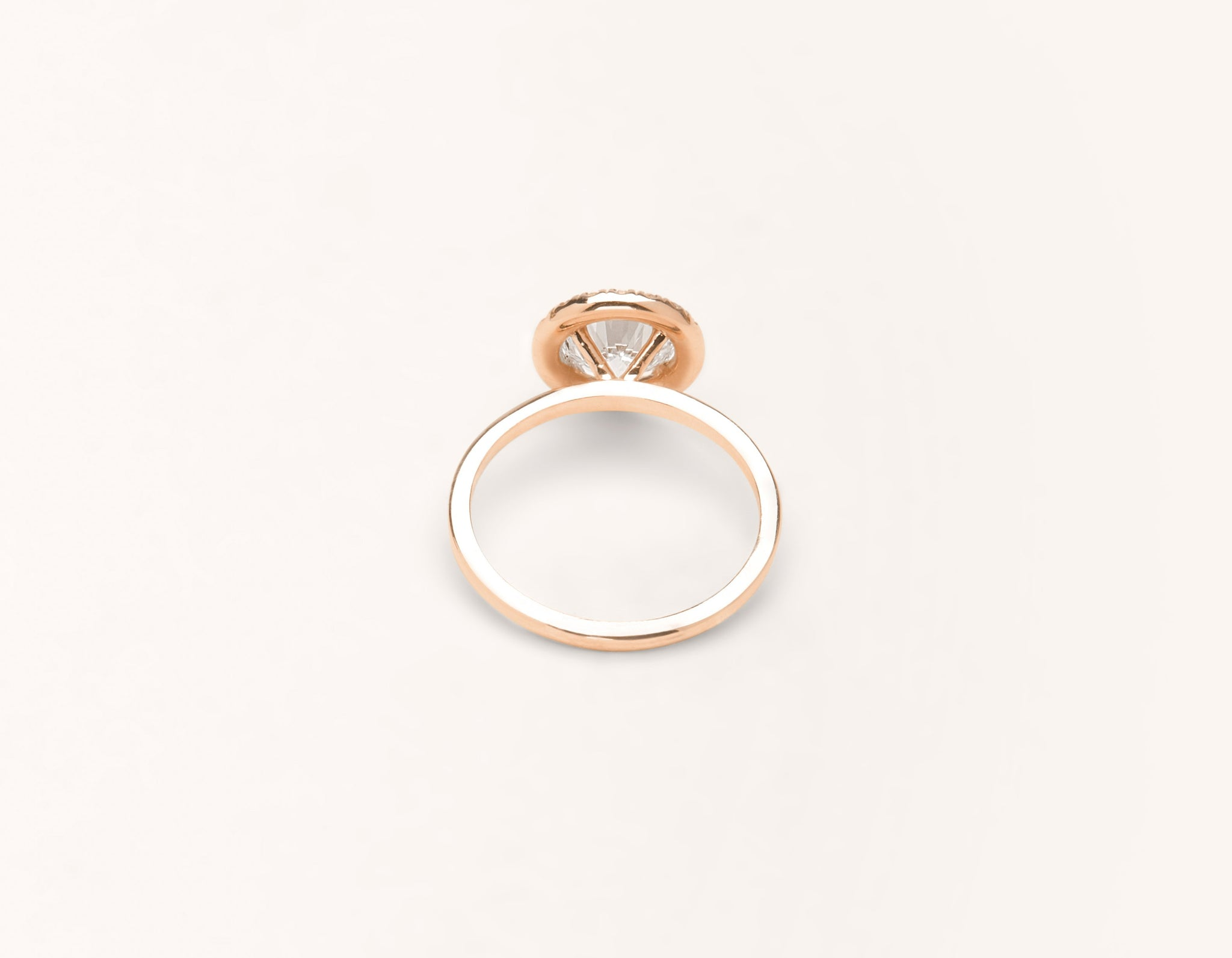 Minimalist 18k solid rose gold The Halo engagement ring 1 ct round diamond Vrai and Oro