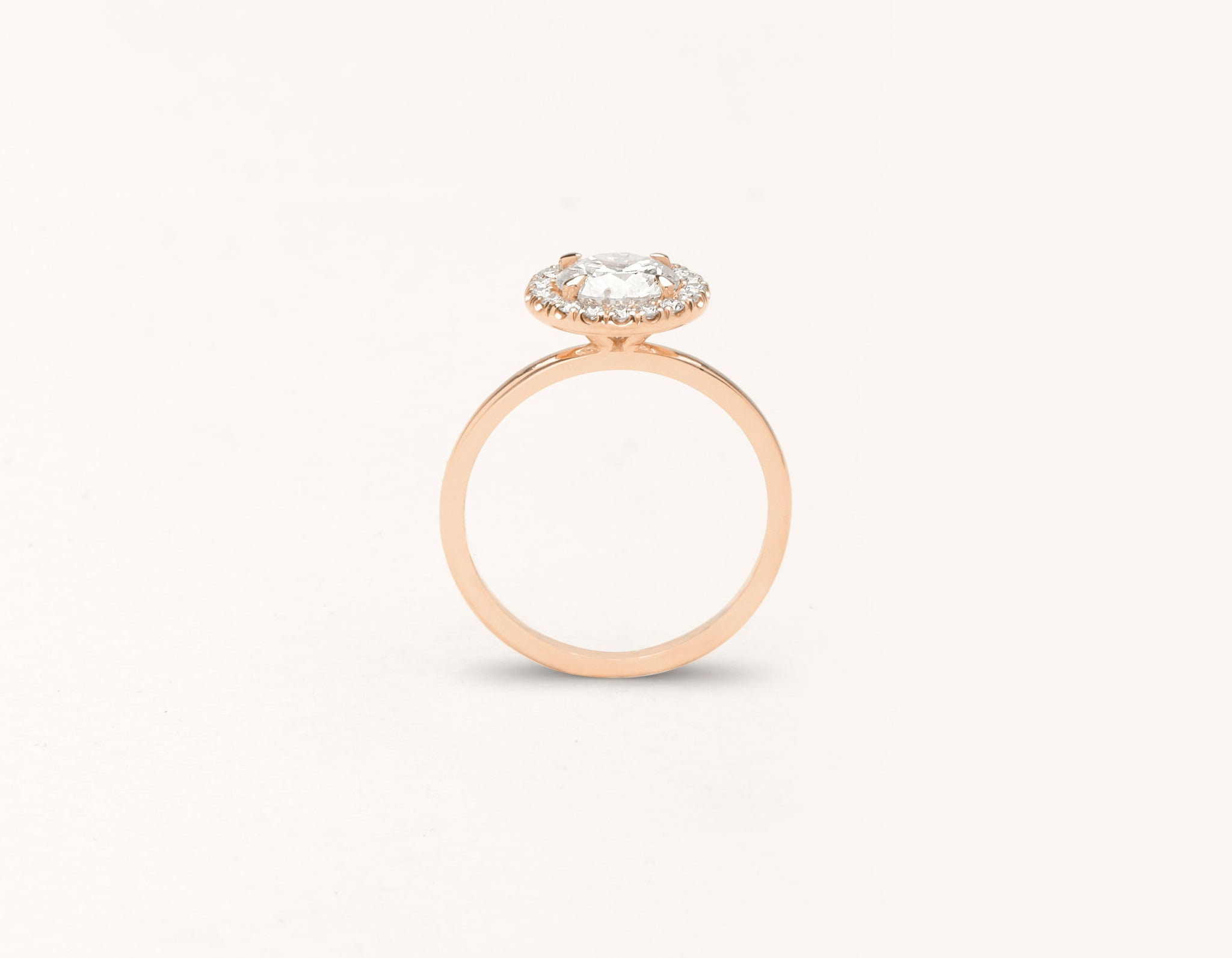 Simple modern 18k solid rose gold 1 carat Halo diamond engagement ring Vrai & Oro