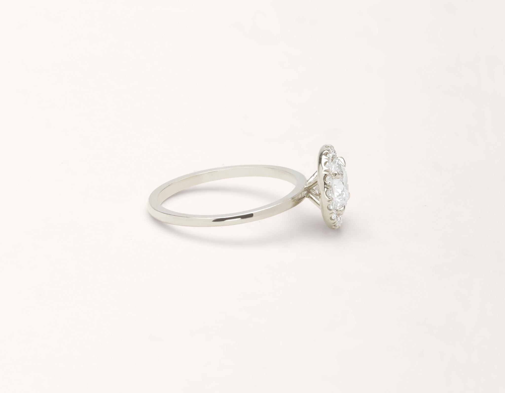 Vrai and Oro modern classic The Halo diamond engagement ring 18k solid white gold sustainable jewelry