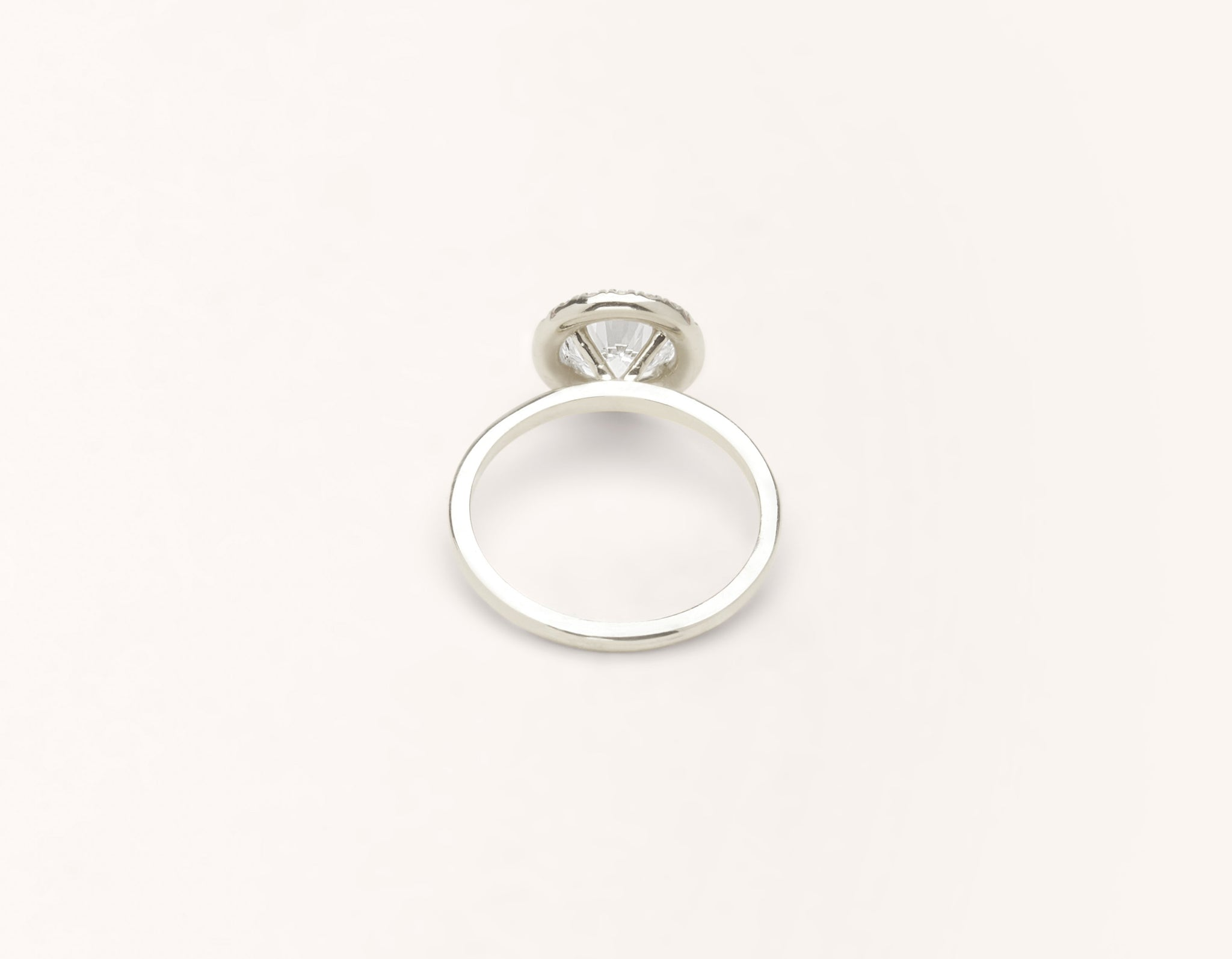 Minimalist 18k solid white gold The Halo engagement ring 1 ct round diamond Vrai and Oro