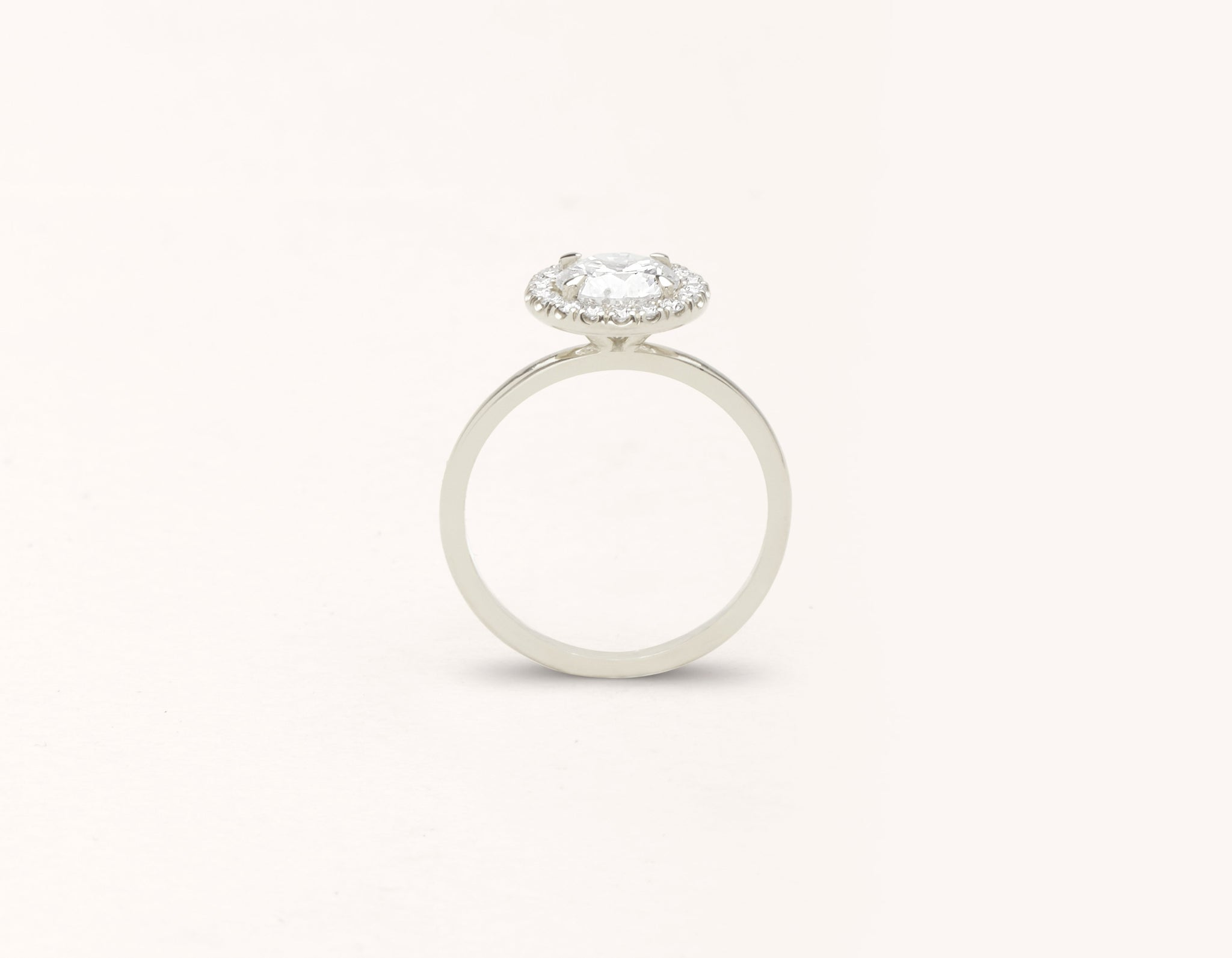Simple modern 18k solid white gold 1 carat Halo diamond engagement ring Vrai & Oro