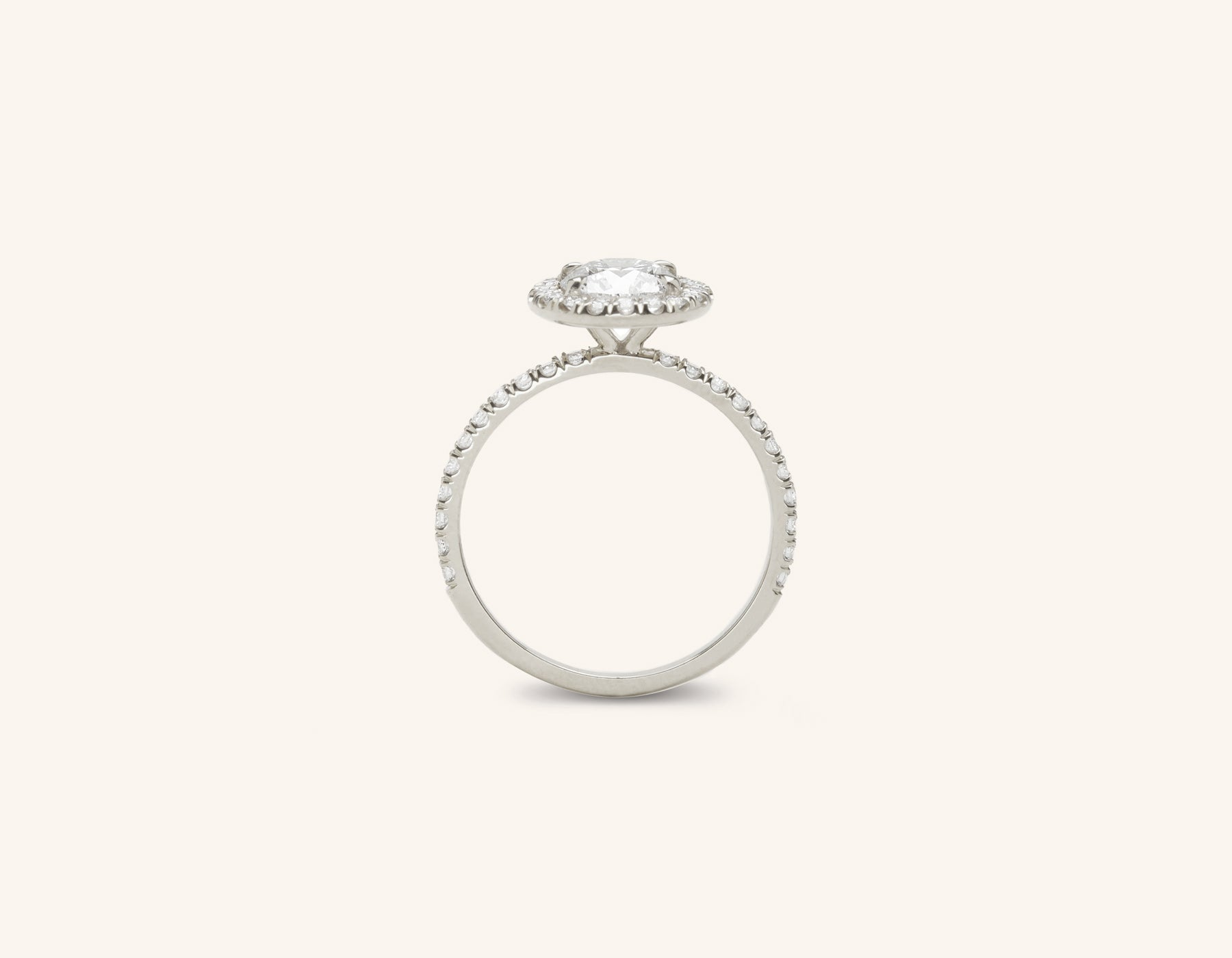 Vrai and Oro classic The Halo diamond pave engagement ring platinum sustainable jewelry