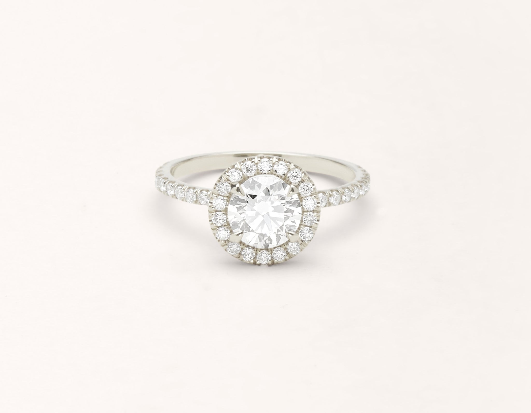 Minimalist 18k solid white gold The Halo pave engagement ring 1 ct round diamond Vrai and Oro
