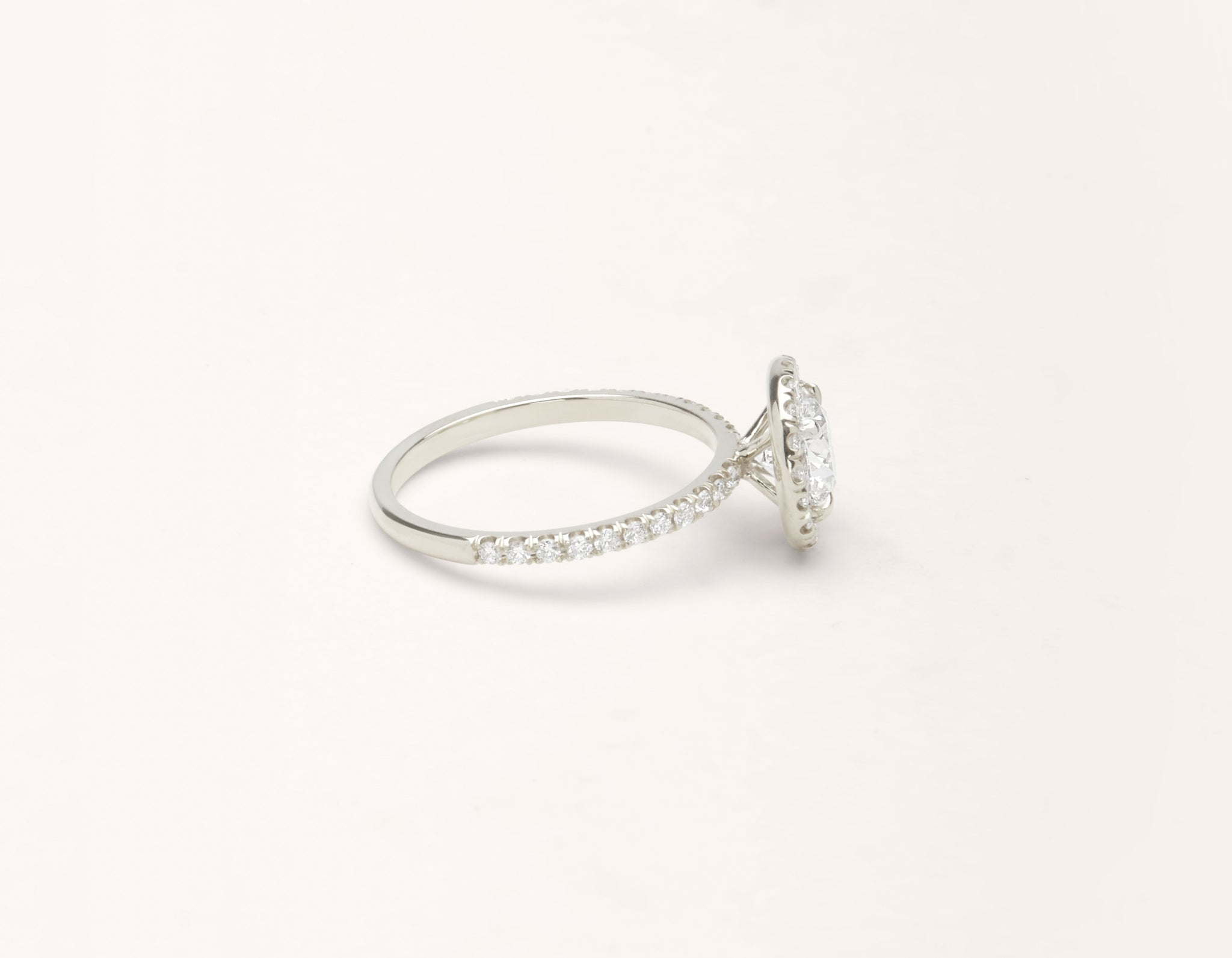 Simple modern 18k solid white gold 1 carat Halo diamond pave engagement ring Vrai & Oro