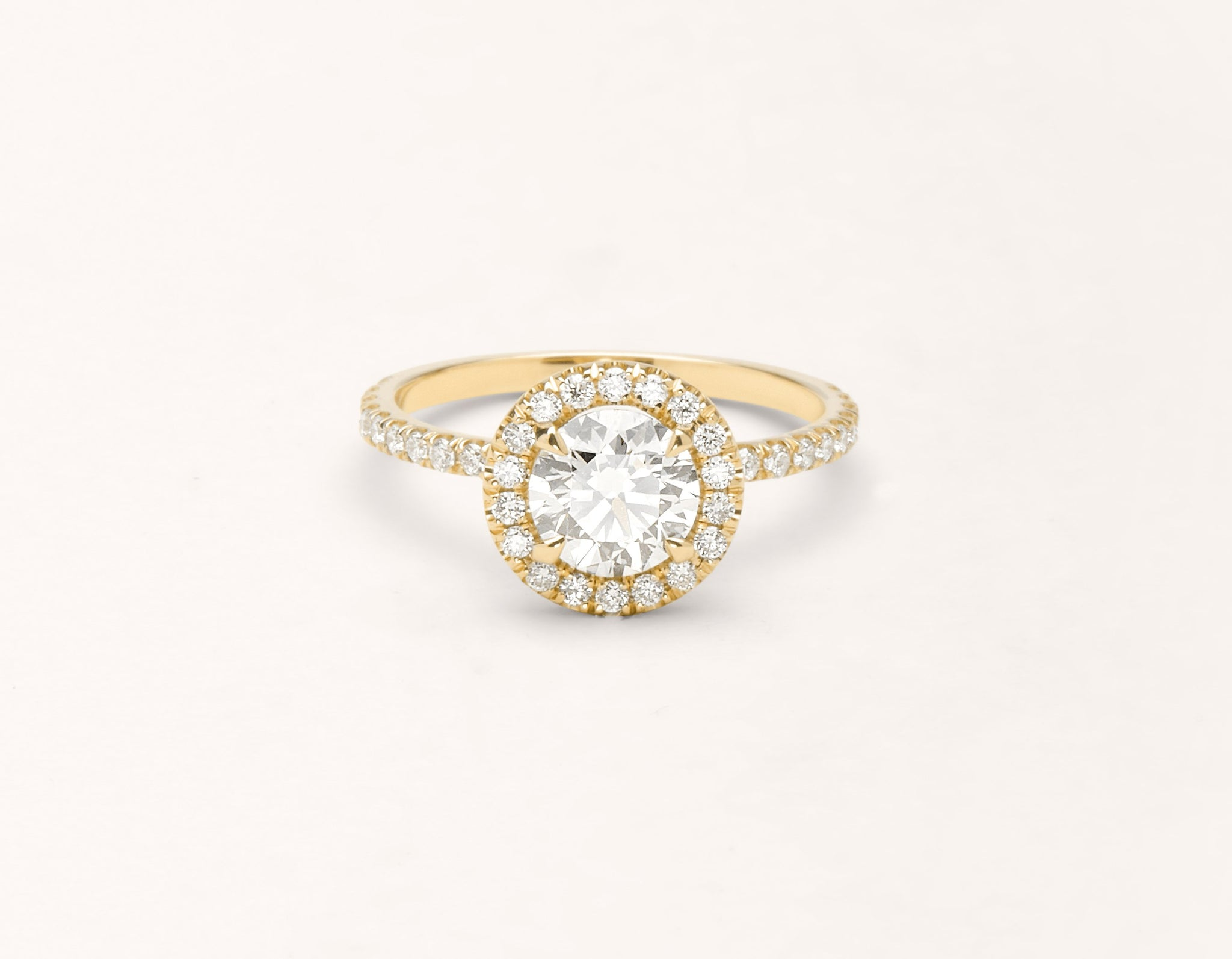 Minimalist 18k solid yellow gold The Halo pave engagement ring 1 ct round diamond Vrai and Oro