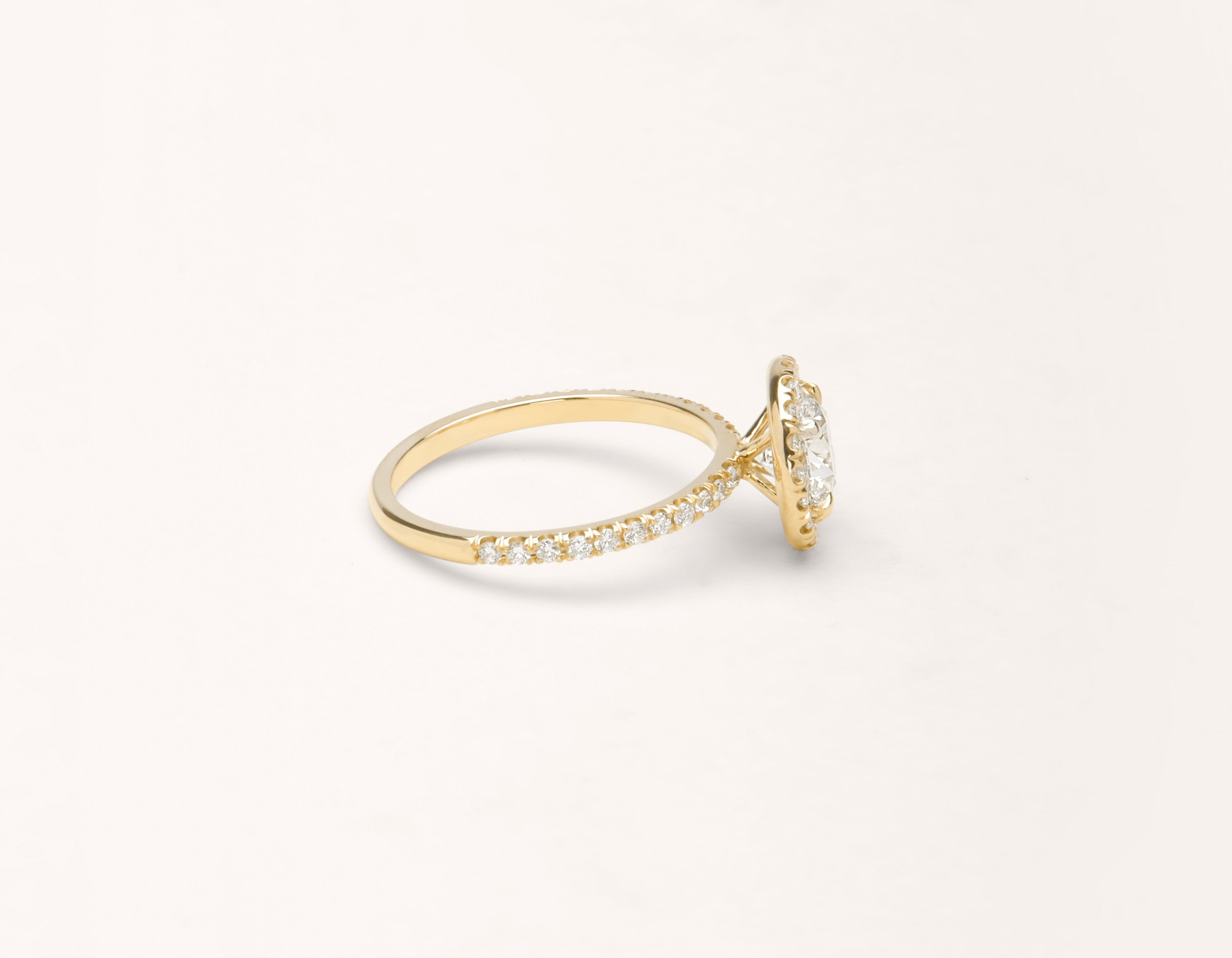 c7af446f7bd Simple modern 18k solid yellow gold 1 carat Halo diamond pave engagement  ring Vrai   Oro