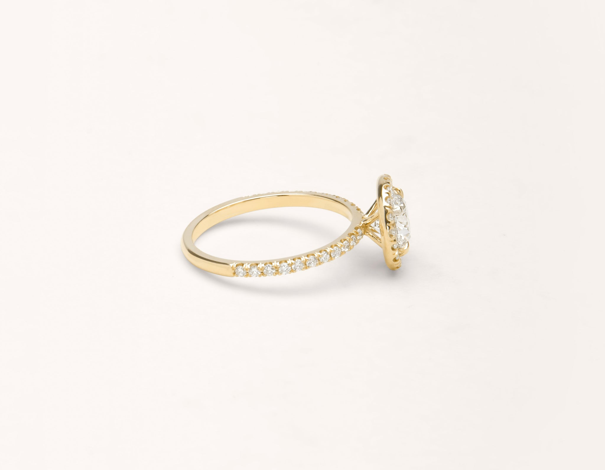 Simple modern 18k solid yellow gold 1 carat Halo diamond pave engagement ring Vrai & Oro