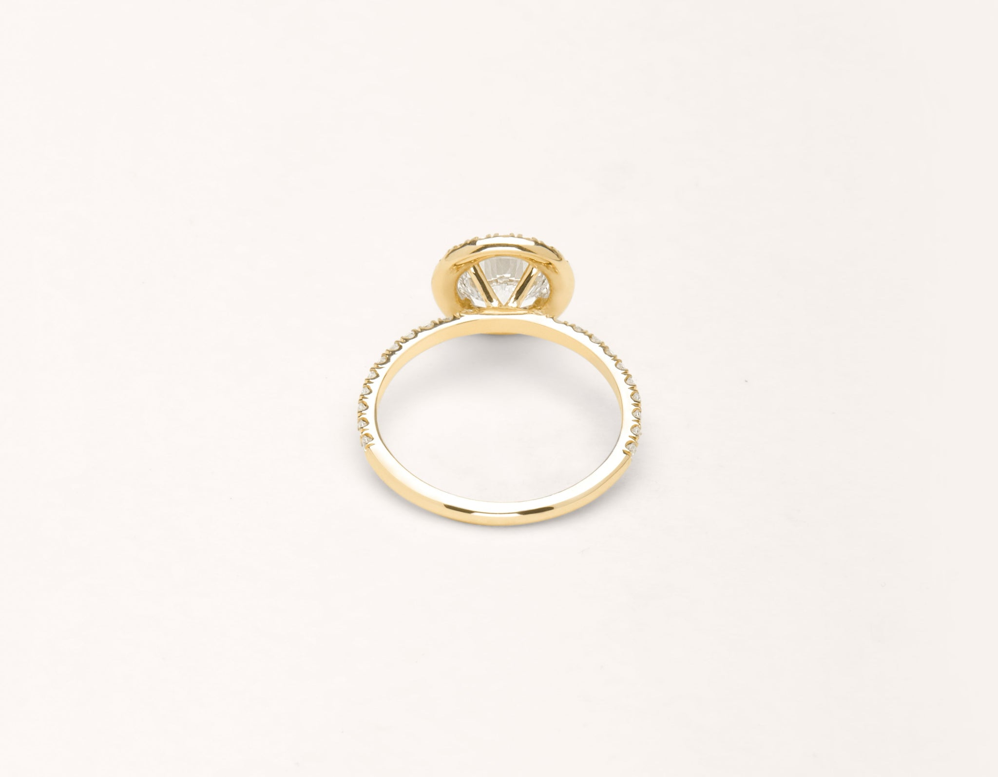 Vrai & Oro 18k solid yellow gold Diamond engagement ring The Halo pave simple classic band