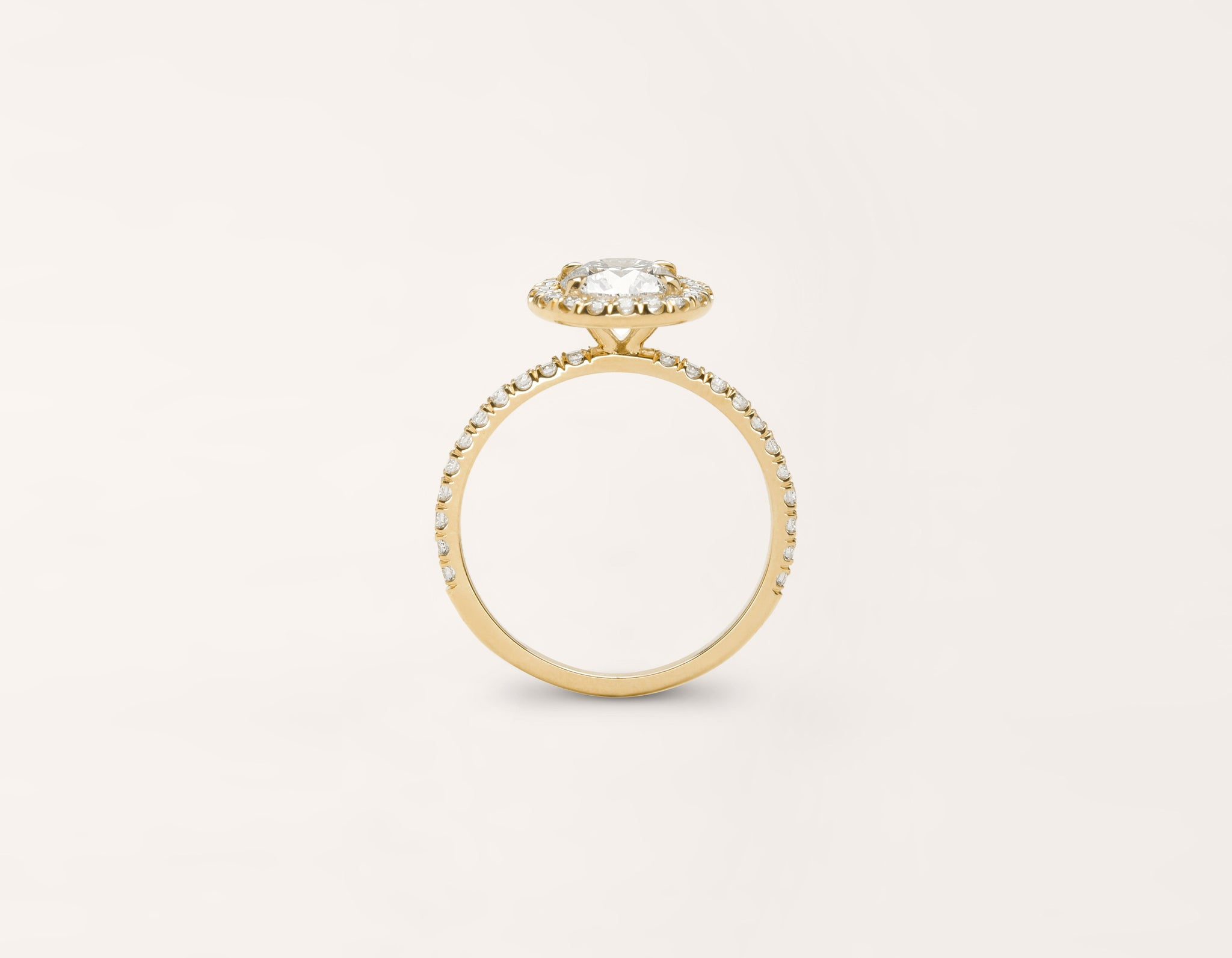 Vrai and Oro classic The Halo diamond pave engagement ring 18k solid yellow gold sustainable jewelry