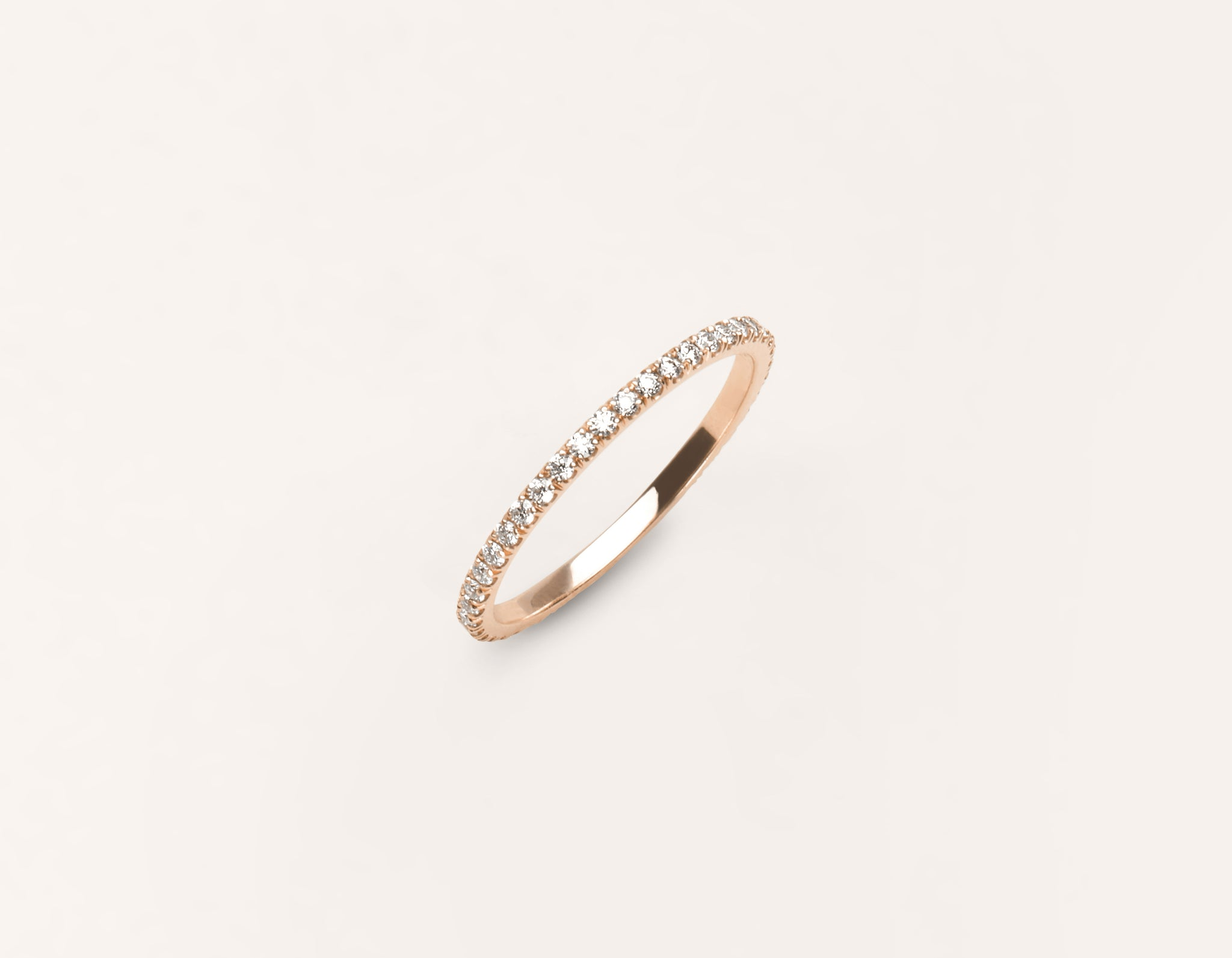 Minimalist 18k solid rose gold Infinity Diamond Pave Wedding Band for men women Vrai and Oro