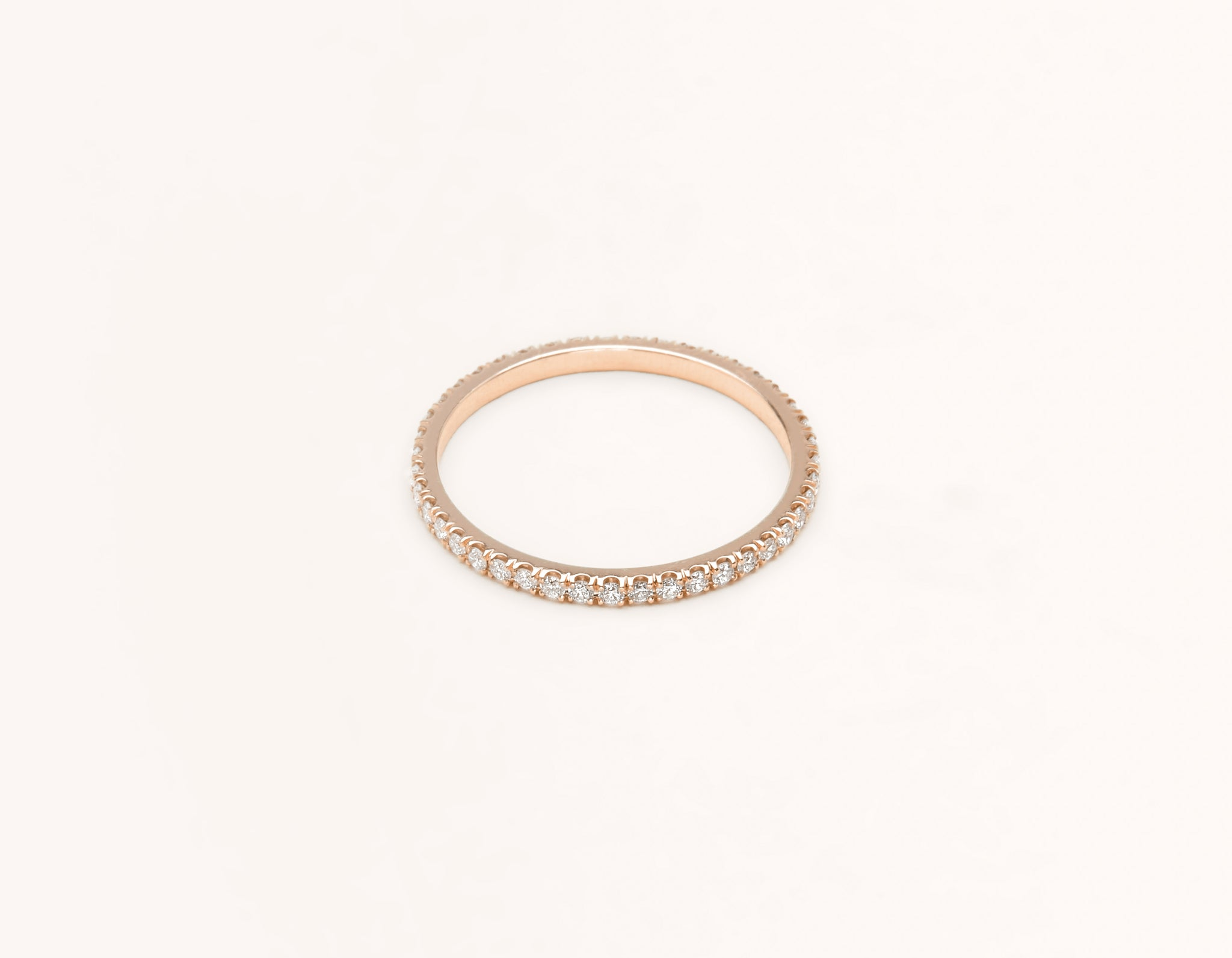Simple modern 18k solid rose gold Infinity diamond Band men's women's Wedding Band Vrai & Oro
