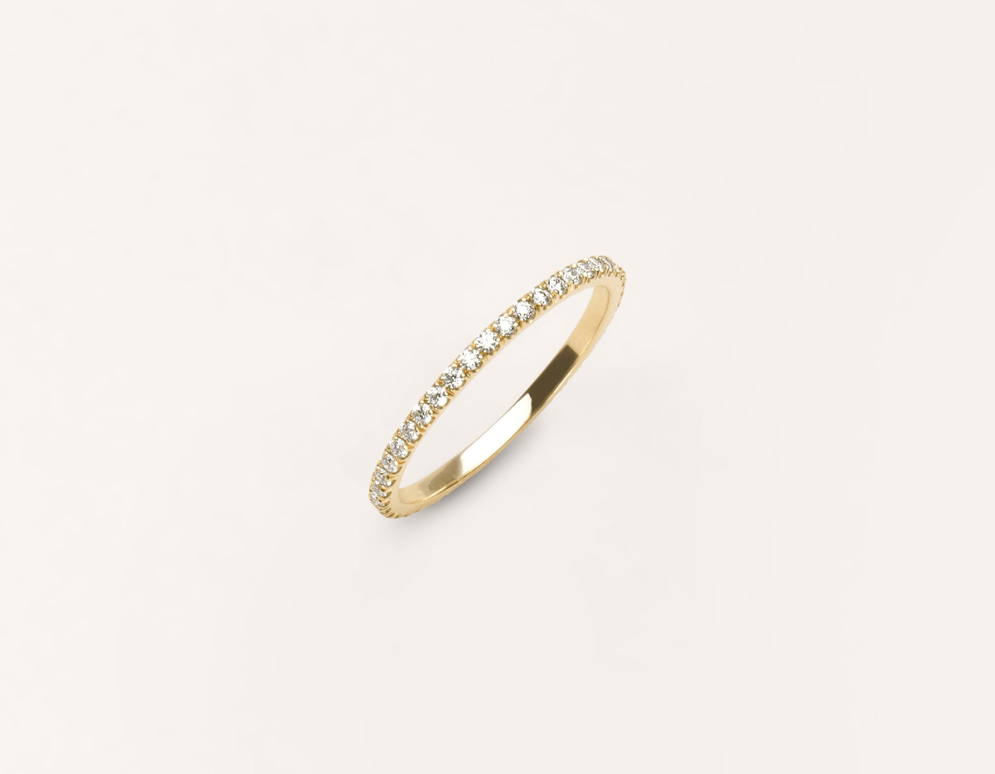 Minimalist 18k solid yellow gold Infinity Diamond Pave Wedding Band for men women Vrai and Oro
