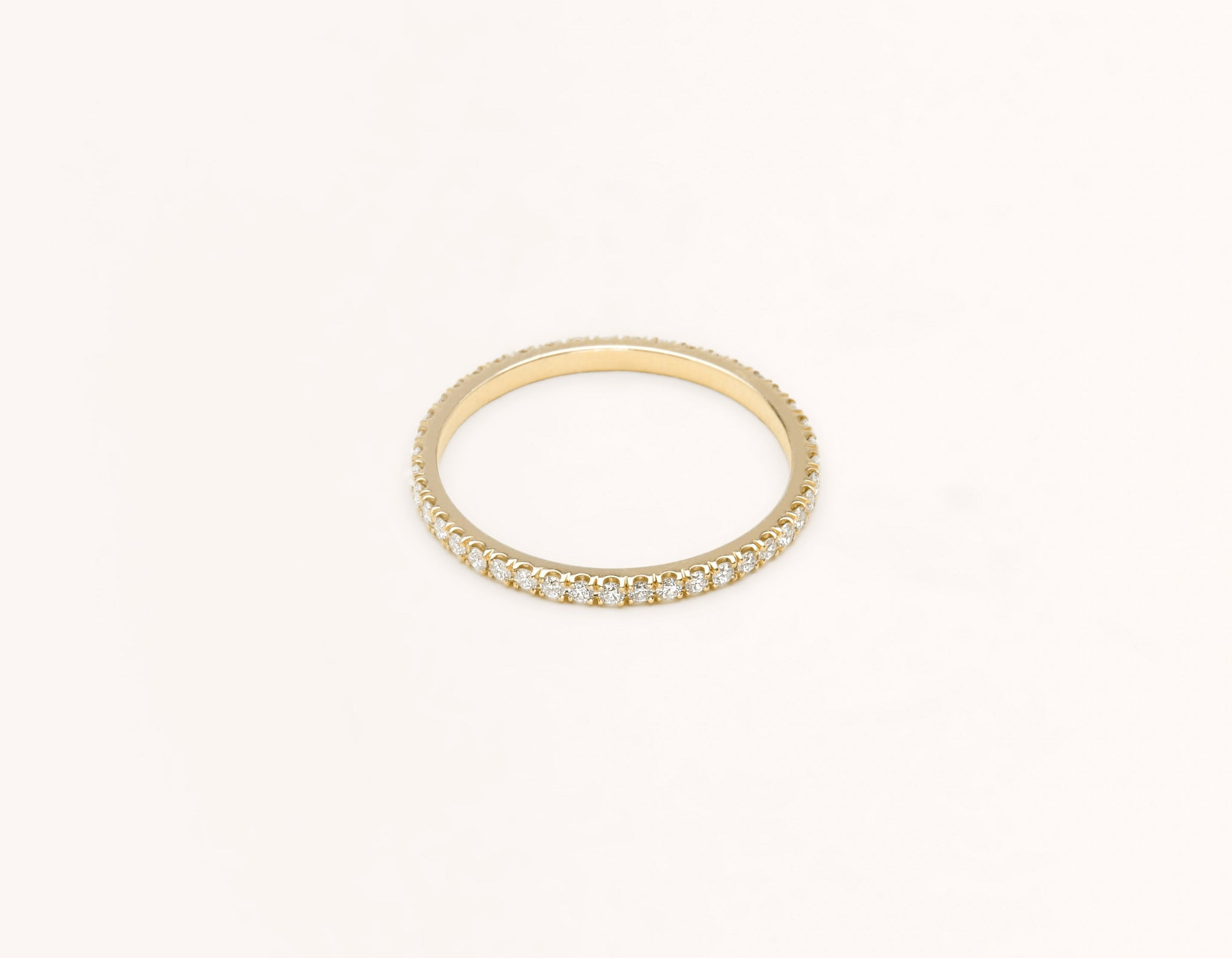 Simple modern 18k solid yellow gold Infinity diamond Band men's women's Wedding Band Vrai & Oro