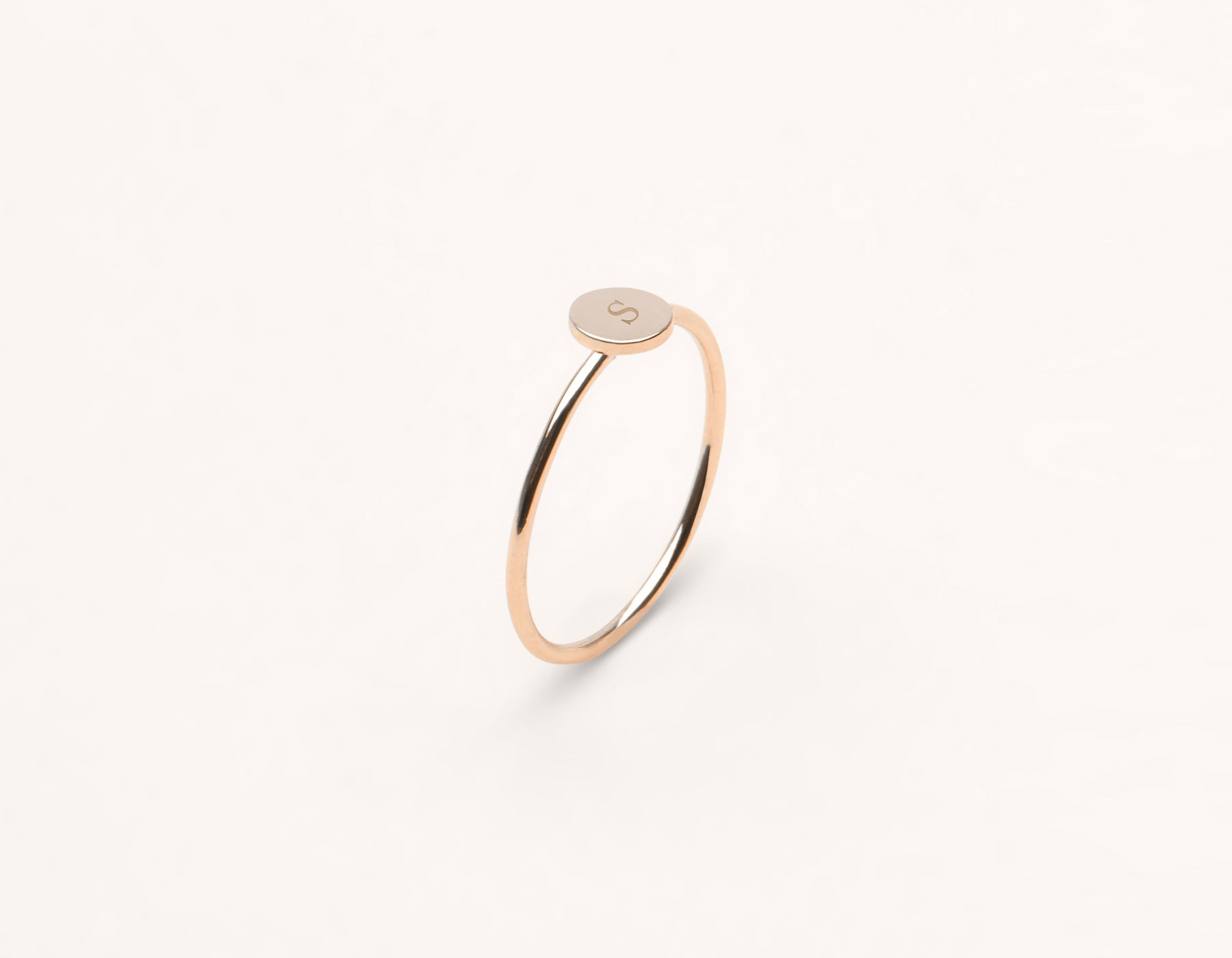 Customizable Initial Ring 14k solid gold minimalist round disk Vrai and Oro, 14K Rose Gold