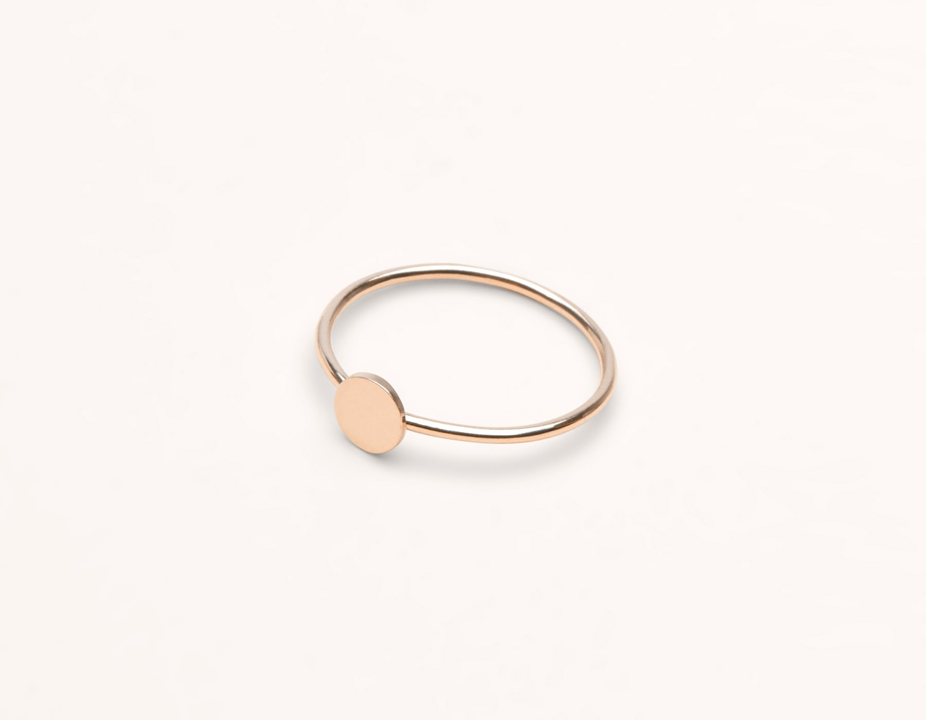 Personal engraving simple Initial Ring 14k solid gold Vrai & Oro, 14K Rose Gold