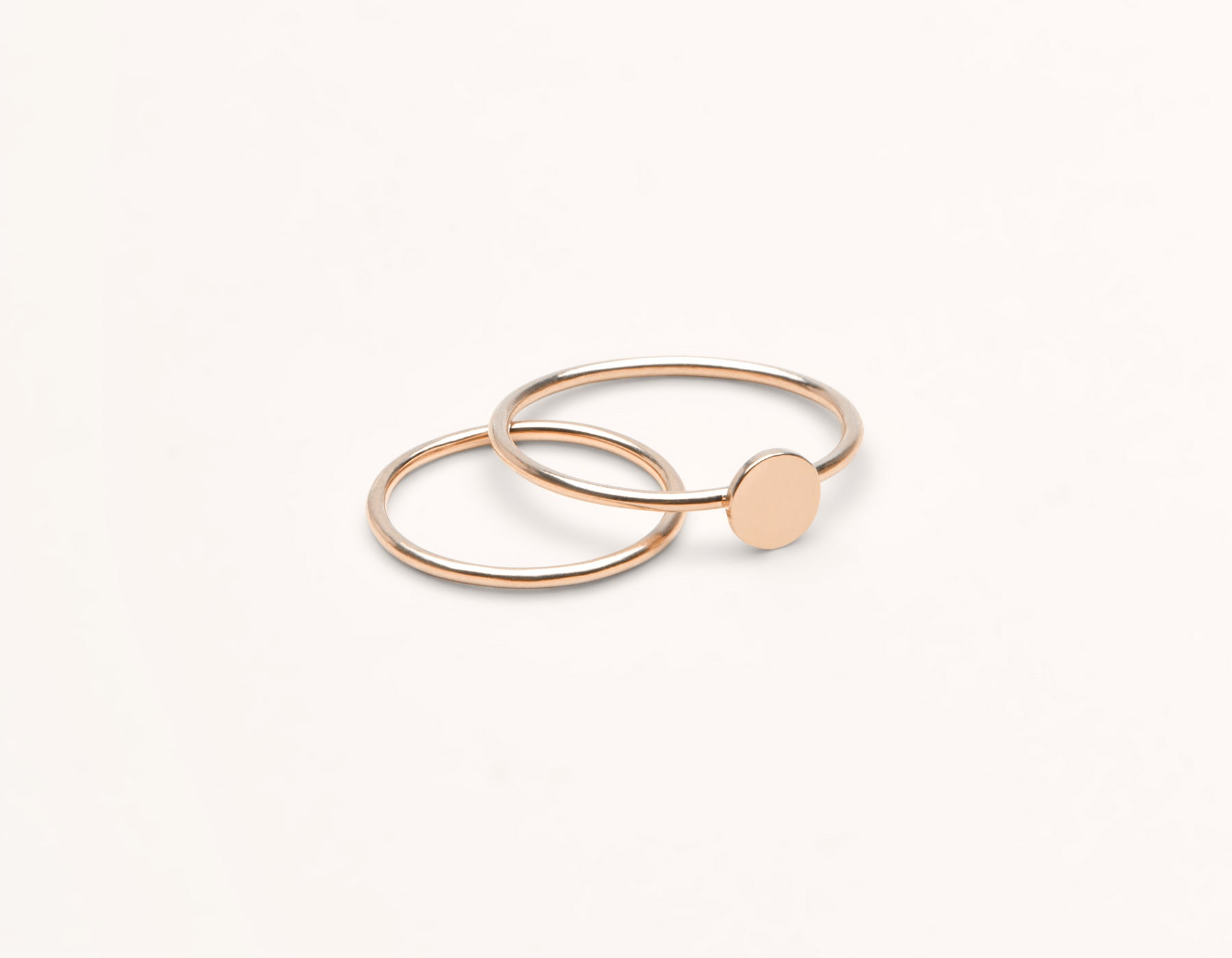 Personalized Initial Ring 14k solid gold simple disk simple skinny ring Vrai & Oro, 14K Rose Gold