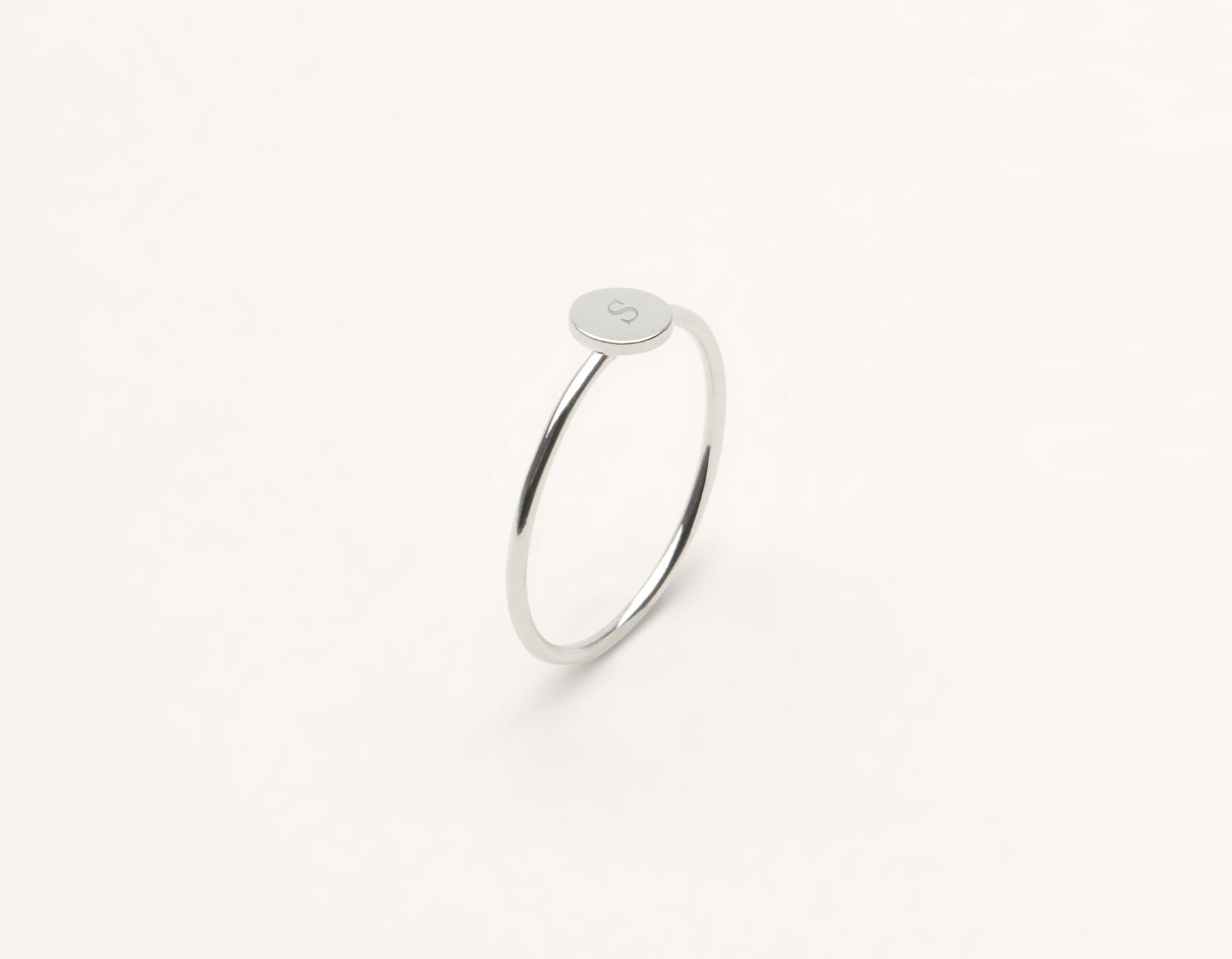 Customizable Initial Ring 14k solid gold minimalist round disk Vrai and Oro, 14K White Gold