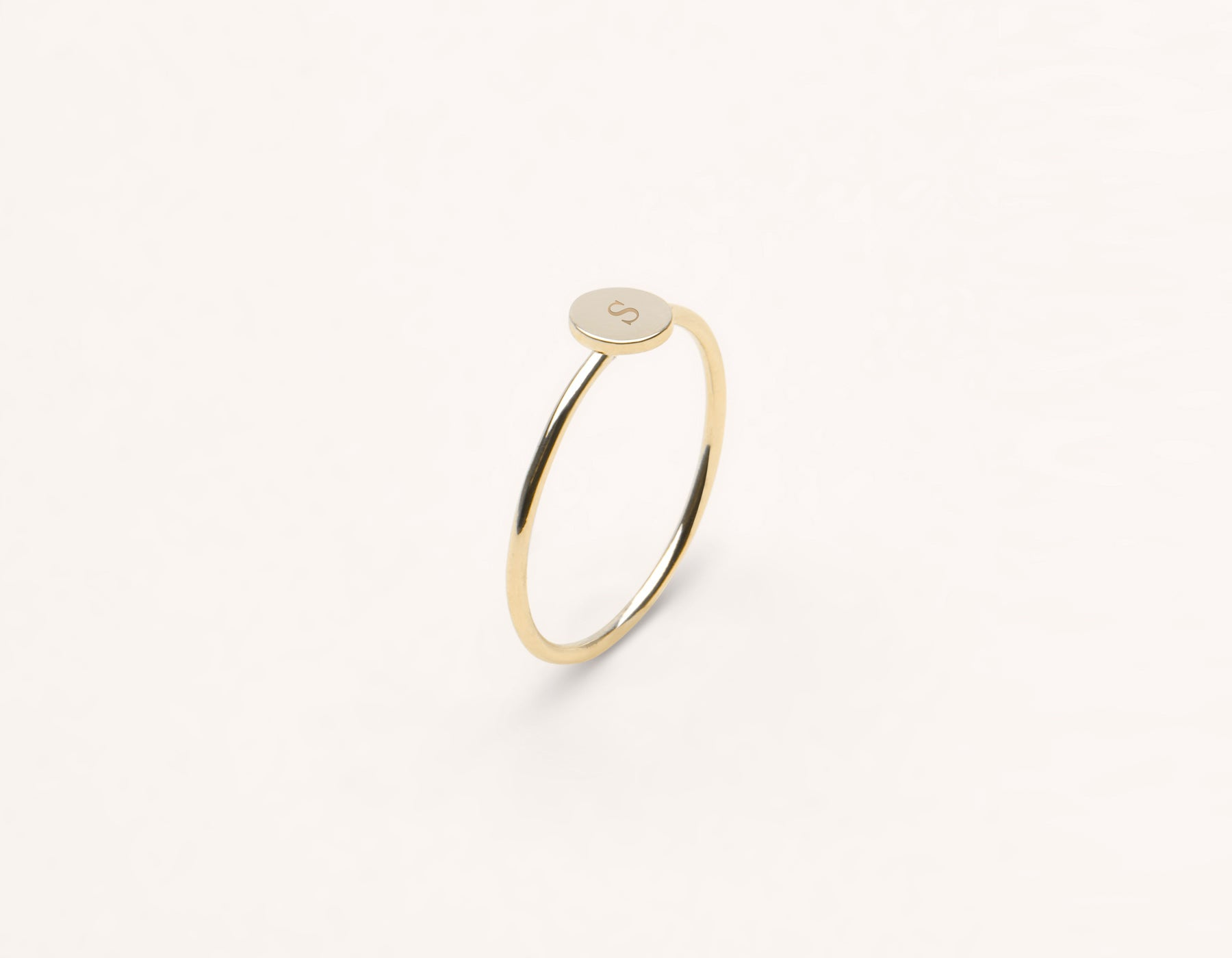 Customizable Initial Ring 14k solid gold minimalist round disk Vrai and Oro, 14K Yellow Gold