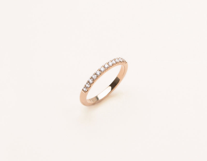 Modern elegant 14k solid gold Large Diamond Pave Band Vrai and Oro minimalist jewelry, 14K Rose Gold