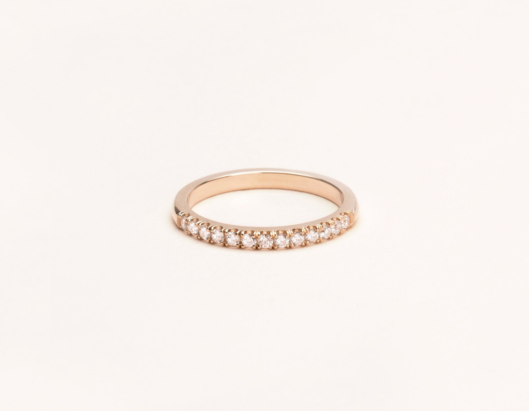 Simple classic 14k solid gold Large Diamond Band Vrai & Oro, 14K Rose Gold