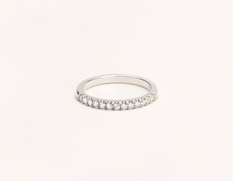 Simple classic 14k solid gold Large Diamond Band Vrai & Oro, 14K White Gold