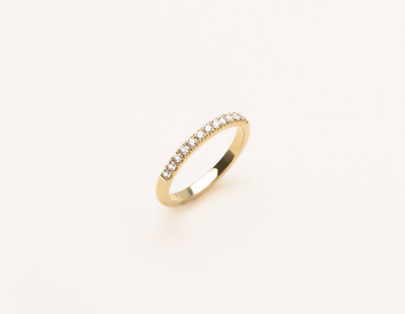 Modern elegant 14k solid gold Large Diamond Pave Band Vrai and Oro minimalist jewelry, 14K Yellow Gold