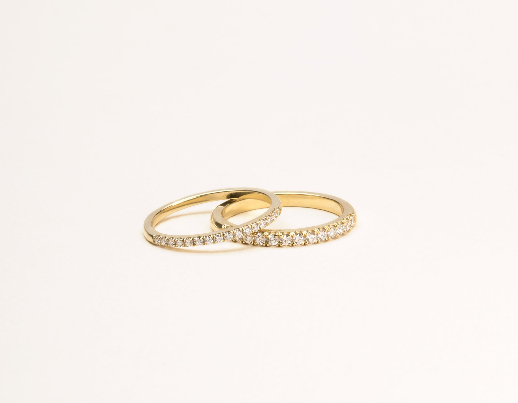 Classic minimalist Large Diamond Pave Band ring pair Vrai & Oro sustainable jewelry, 14K Yellow Gold