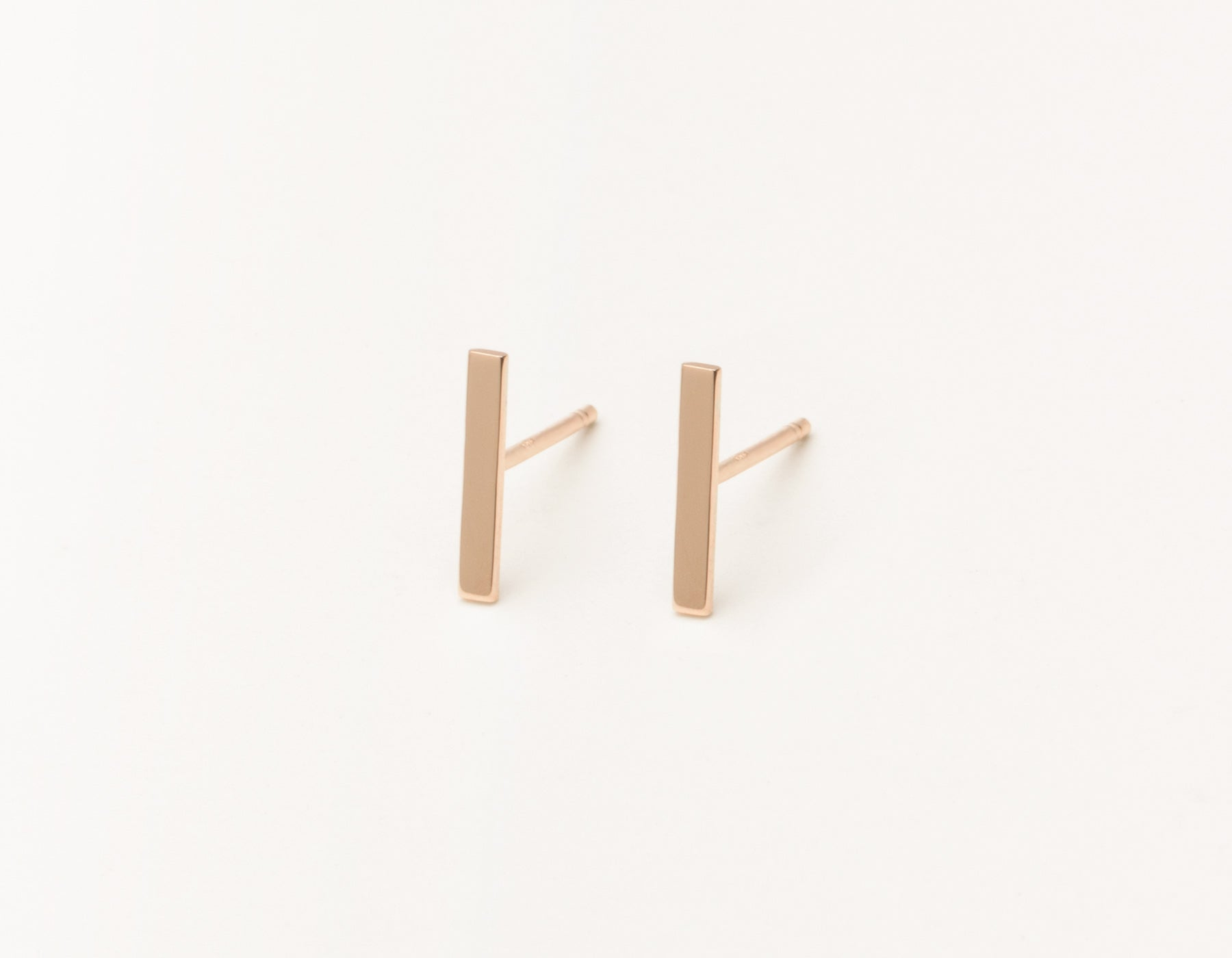 Modern minimalist Line Studs 14k solid gold post earrings Vrai and Oro, 14K Rose Gold