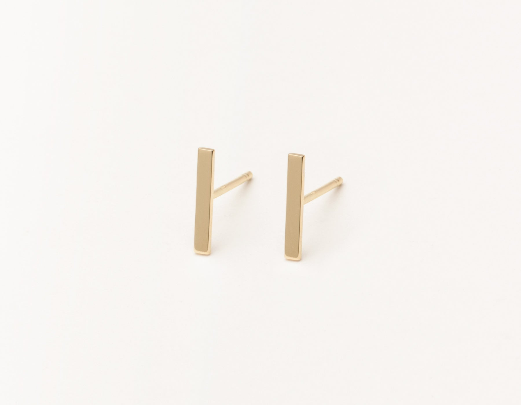 Modern minimalist Line Studs 14k solid gold post earrings Vrai and Oro, 14K Yellow Gold