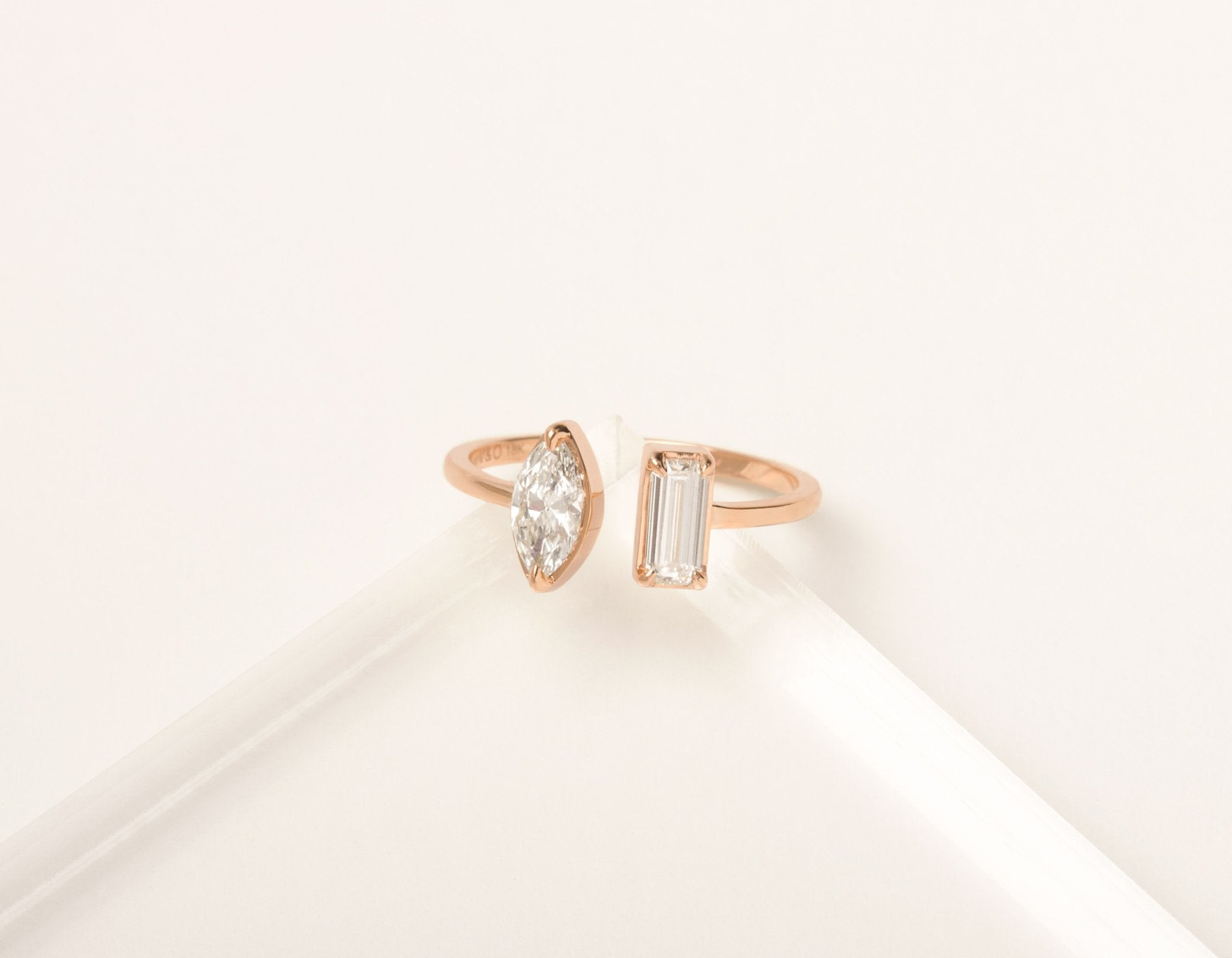 Unique Minimalist 18K solid gold Mix Baguette and Marquise Diamond Cuff Ring Vrai and Oro, 18K Rose Gold