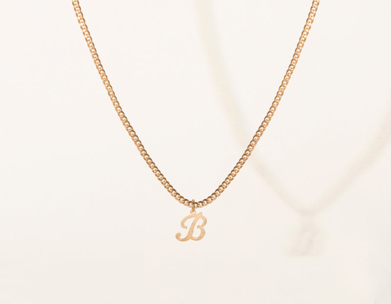 vrai & Oro modern minimalist 14k Solid Gold Letter Pendant charm on thick cuban link chain, 14K Rose Gold