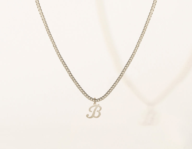 vrai & Oro modern minimalist 14k Solid Gold Letter Pendant charm on thick cuban link chain, 14K White Gold