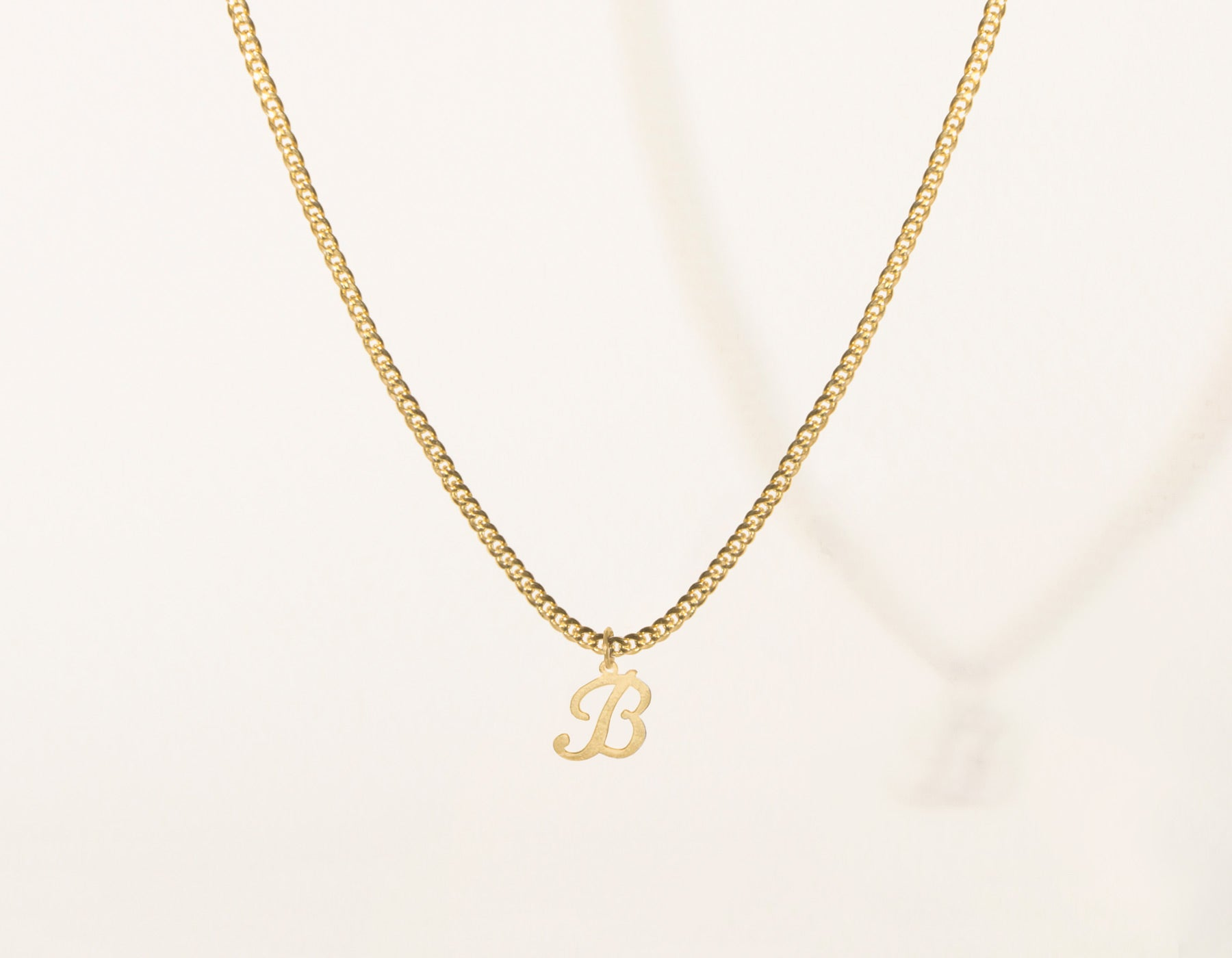 Letter pendant necklace vrai oro vrai oro modern minimalist 14k solid gold letter pendant charm on thick cuban link chain aloadofball Gallery