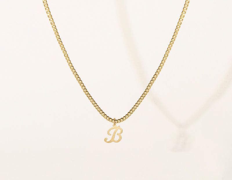 vrai & Oro modern minimalist 14k Solid Gold Letter Pendant charm on thick cuban link chain, 14K Yellow Gold