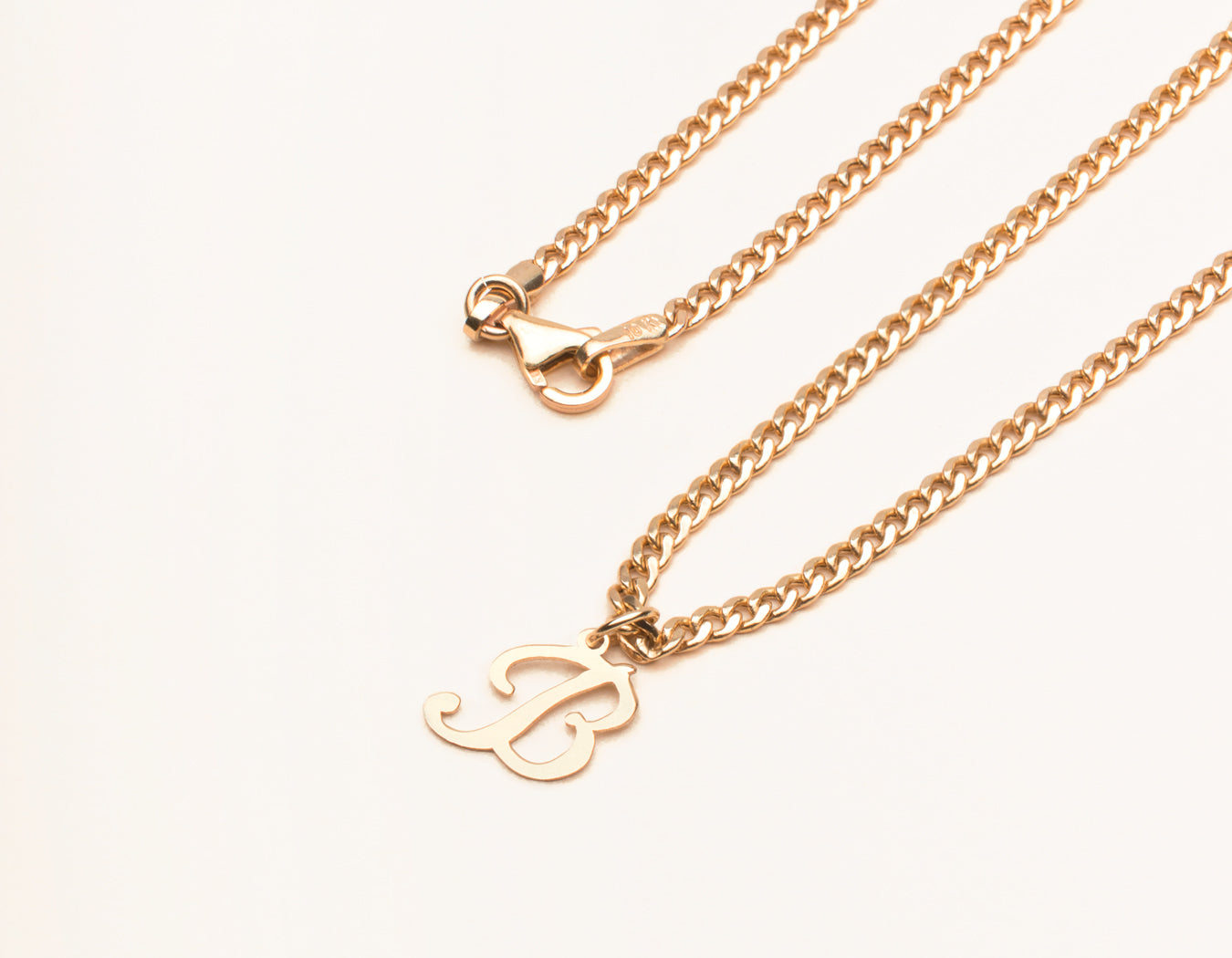 vrai and Oro simple personalized 14k Solid Gold Letter Pendant Necklace on cuban link chain with lobster clasp, 14K Rose Gold
