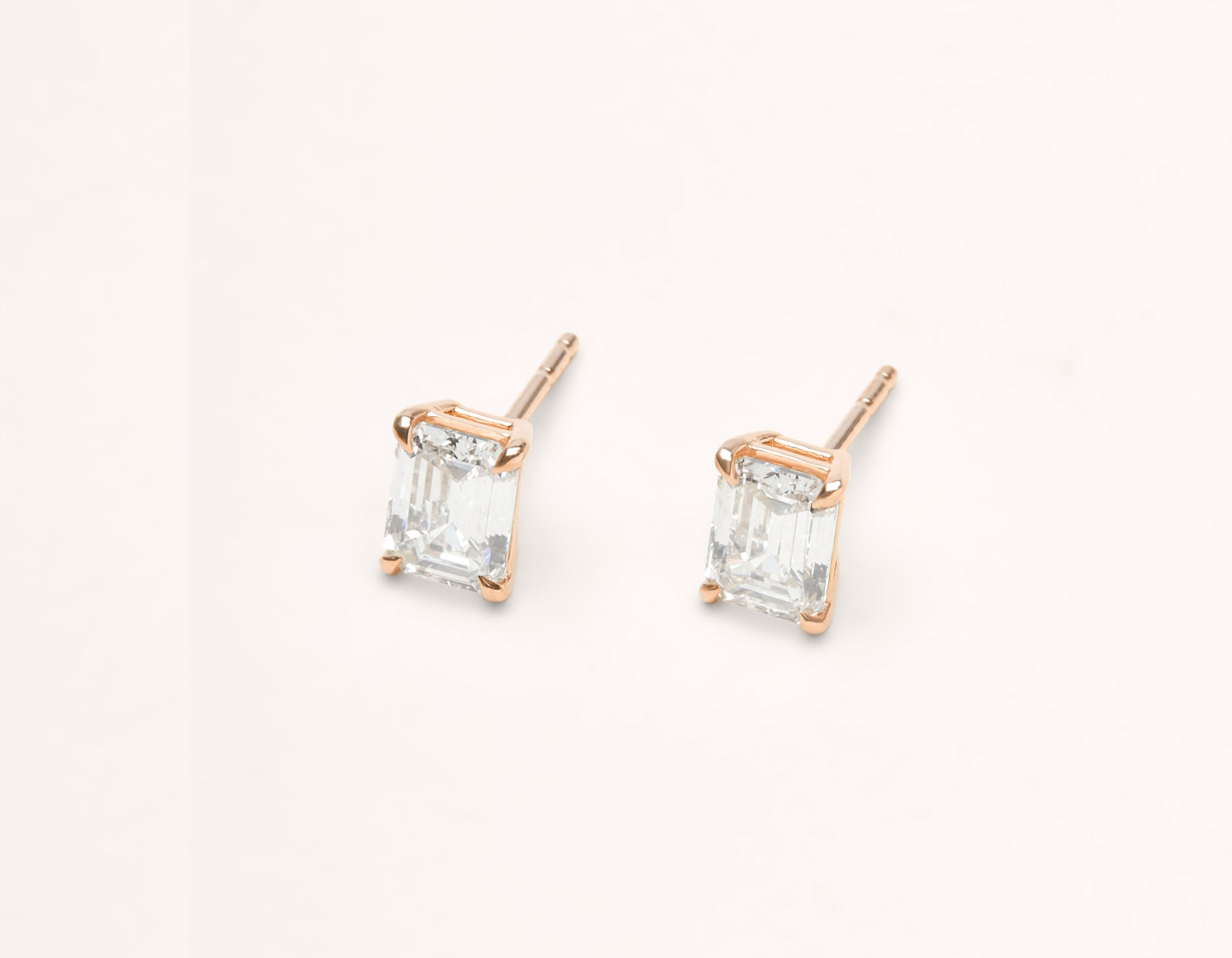 modern minimalist 18k solid gold 1 ct Emerald Studs diamond earrings by Vrai & Oro, 18K Rose Gold